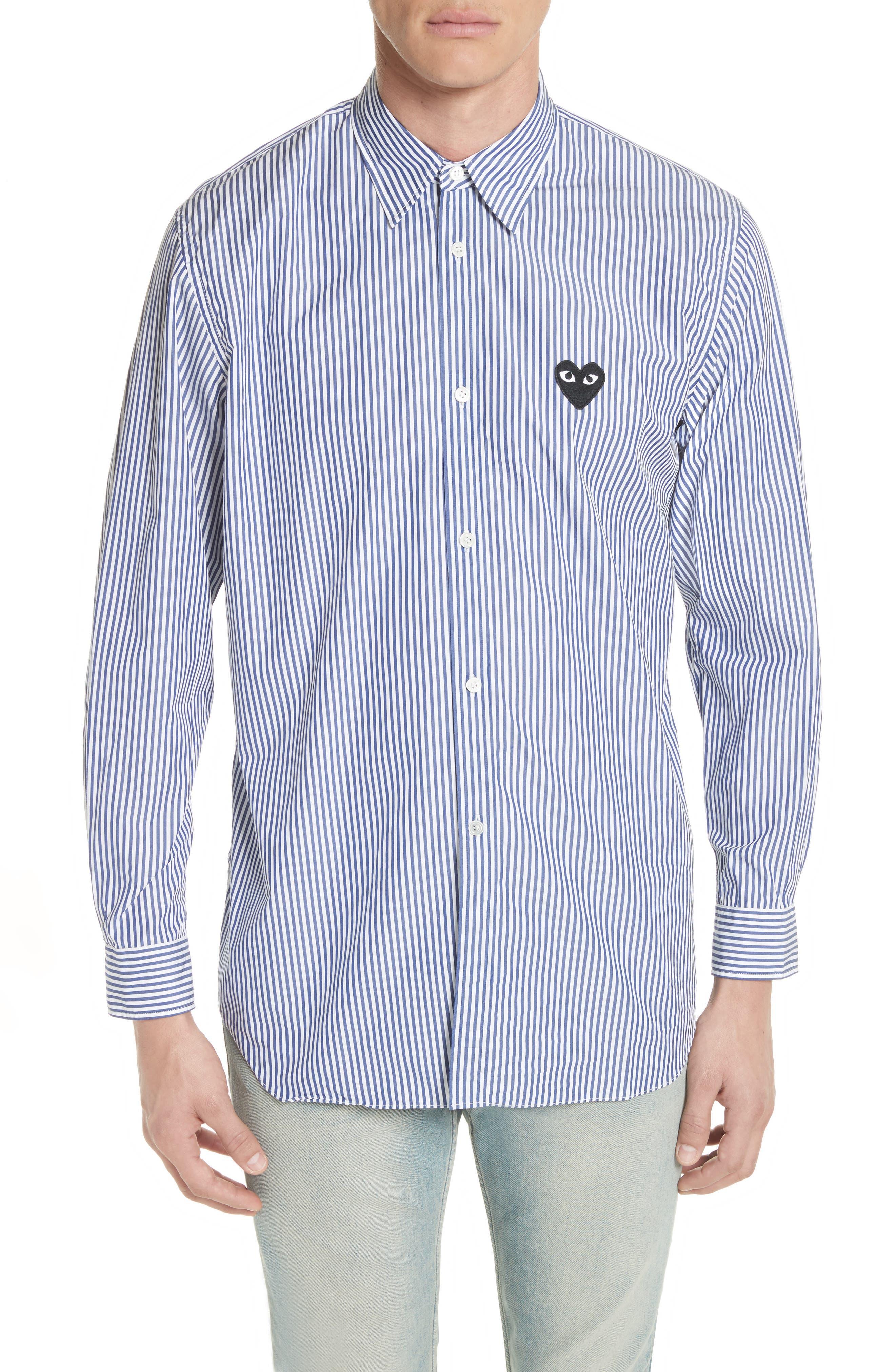 COMME DES GARÇONS PLAY, Stripe Woven Shirt, Main thumbnail 1, color, BLUE