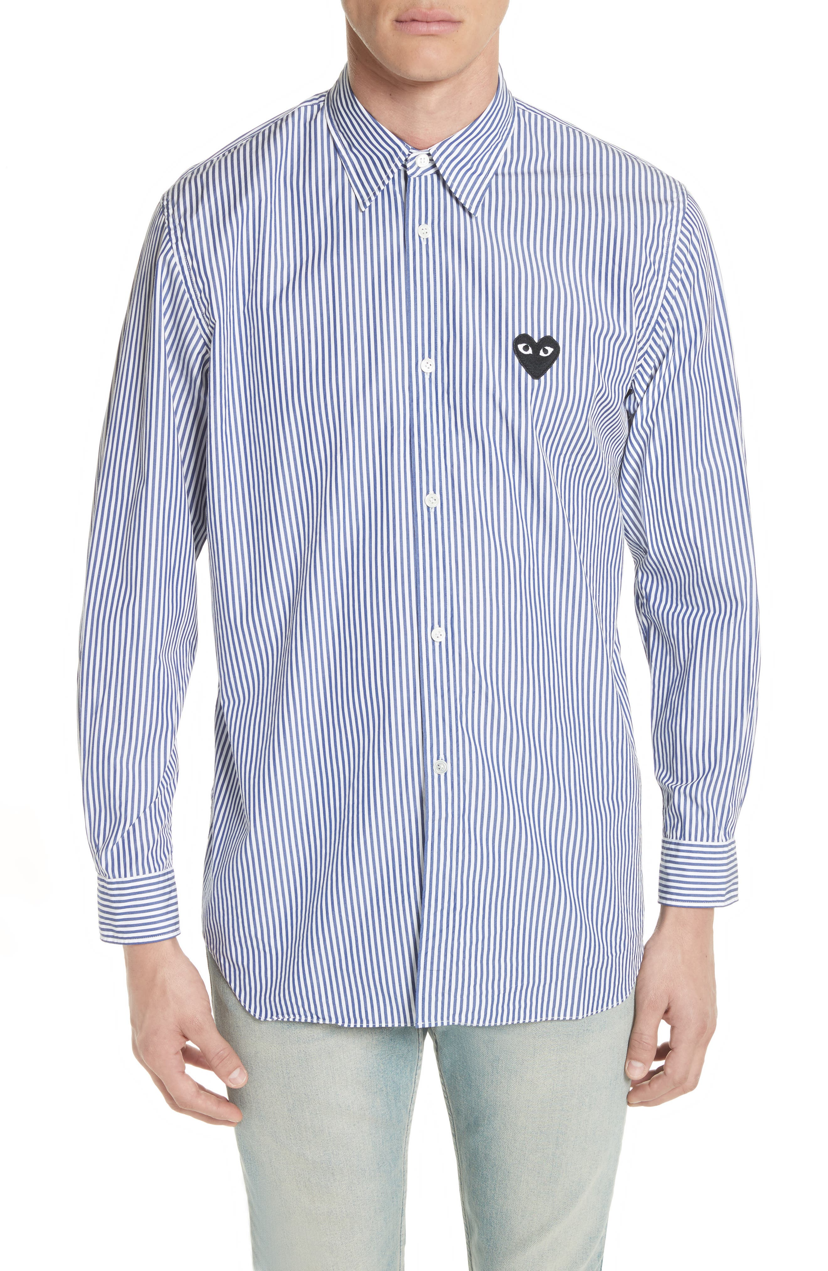 COMME DES GARÇONS PLAY Stripe Woven Shirt, Main, color, BLUE