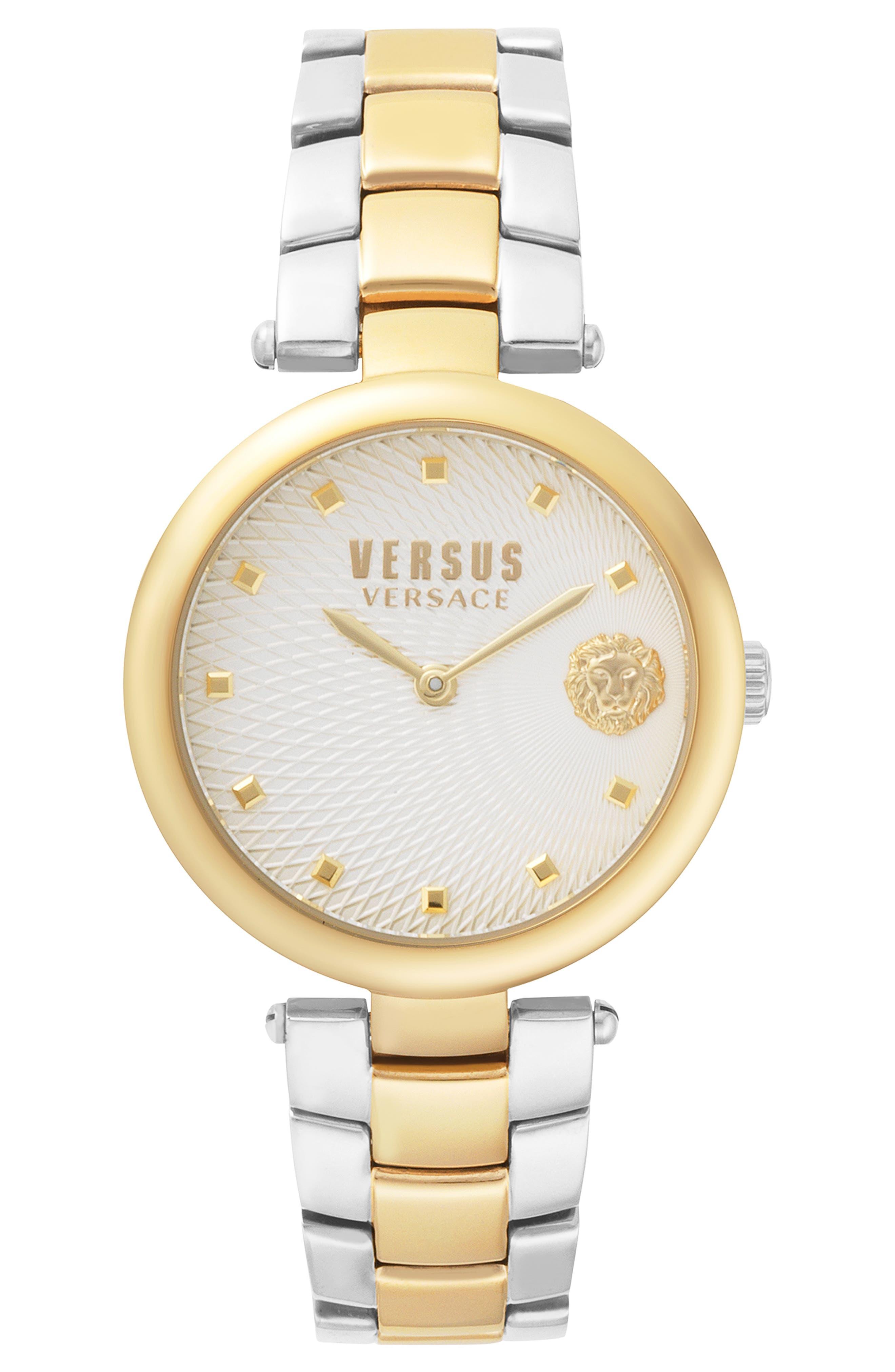 VERSUS VERSACE, Buffle Bay Bracelet Watch, 36mm, Main thumbnail 1, color, SILVER/ GOLD
