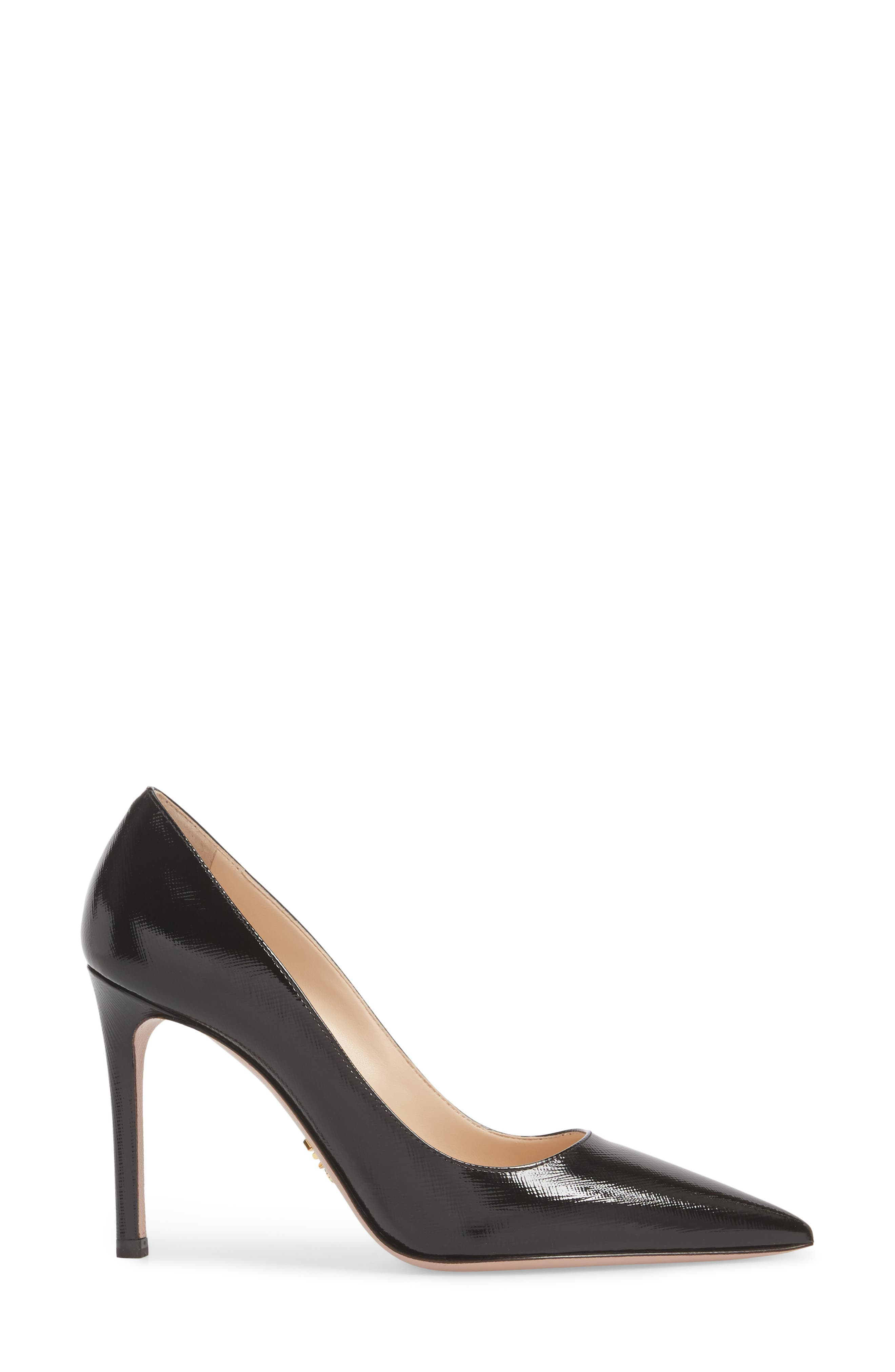PRADA, Pointy Toe Pump, Alternate thumbnail 3, color, BLACK