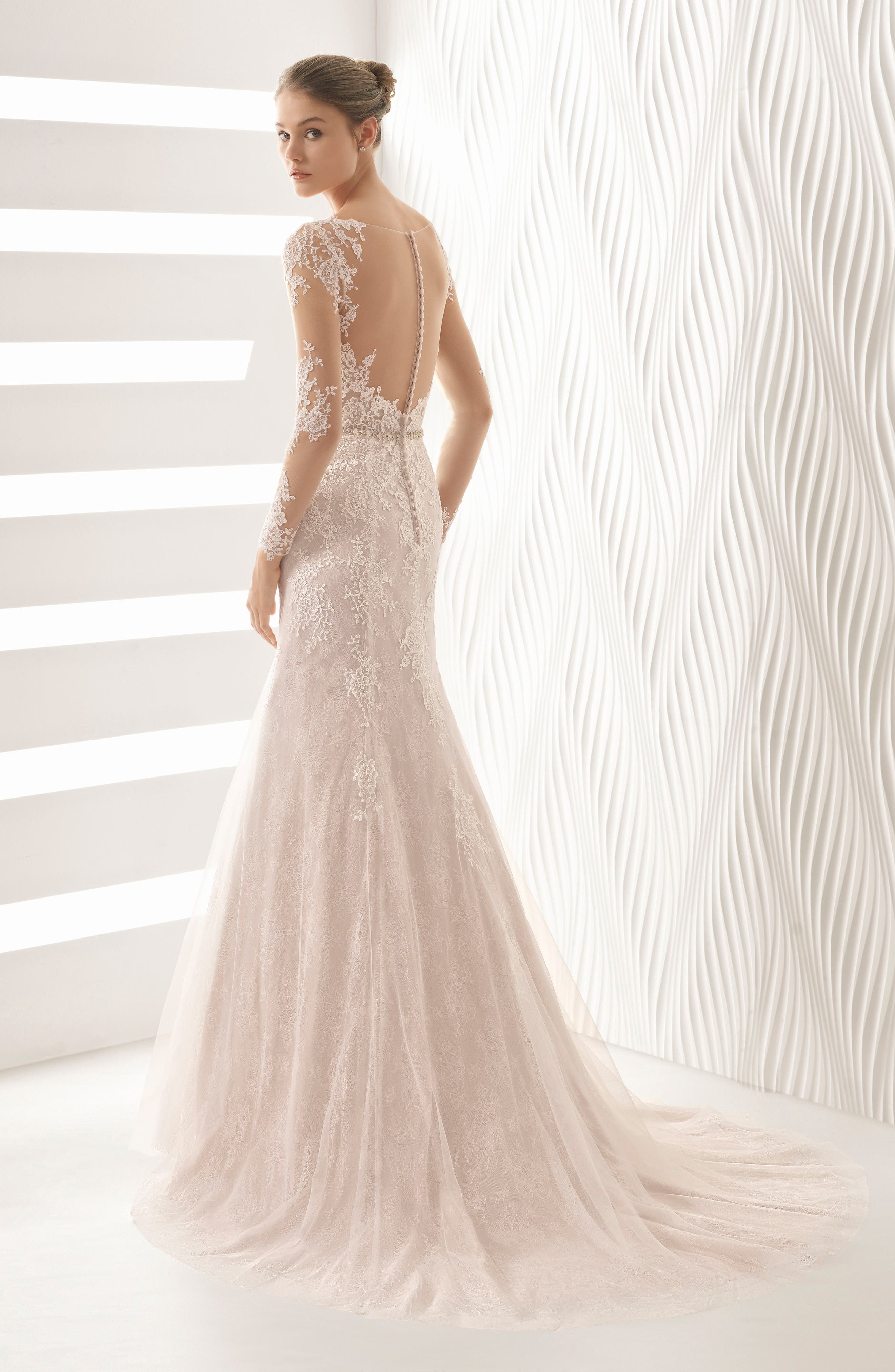 ROSA CLARÁ, Amor Embroidered Illusion Lace Trumpet Gown, Alternate thumbnail 2, color, NUDE