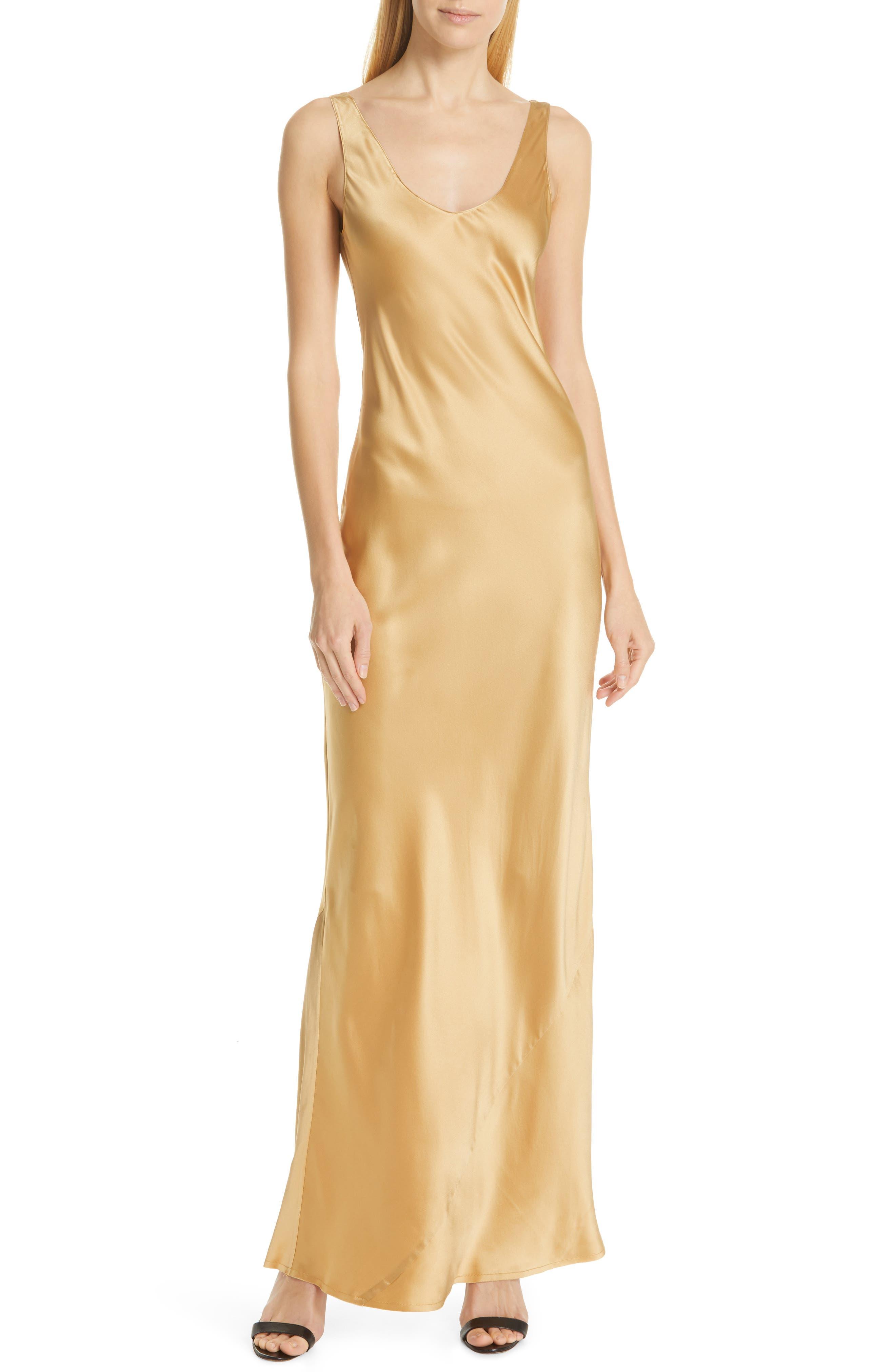 NILI LOTAN, Bazile Silk Evening Dress, Main thumbnail 1, color, GOLDEN