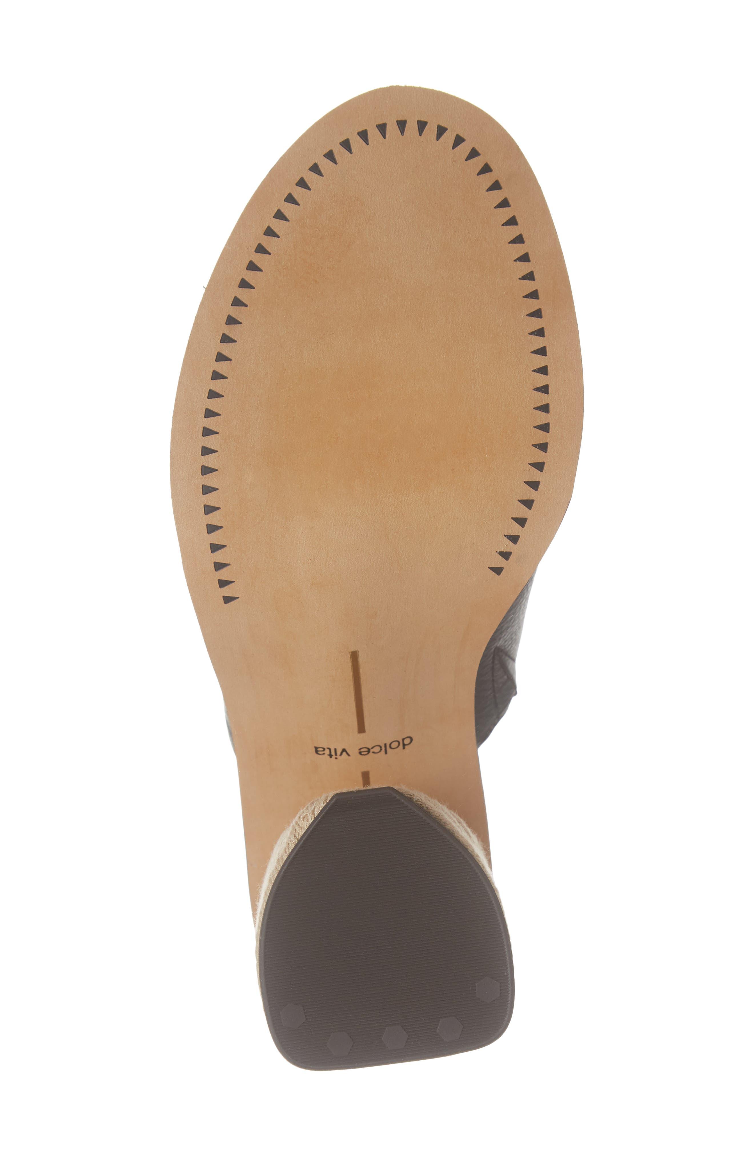 DOLCE VITA, Alba Braided Heel Mule Sandal, Alternate thumbnail 6, color, BLACK LEATHER