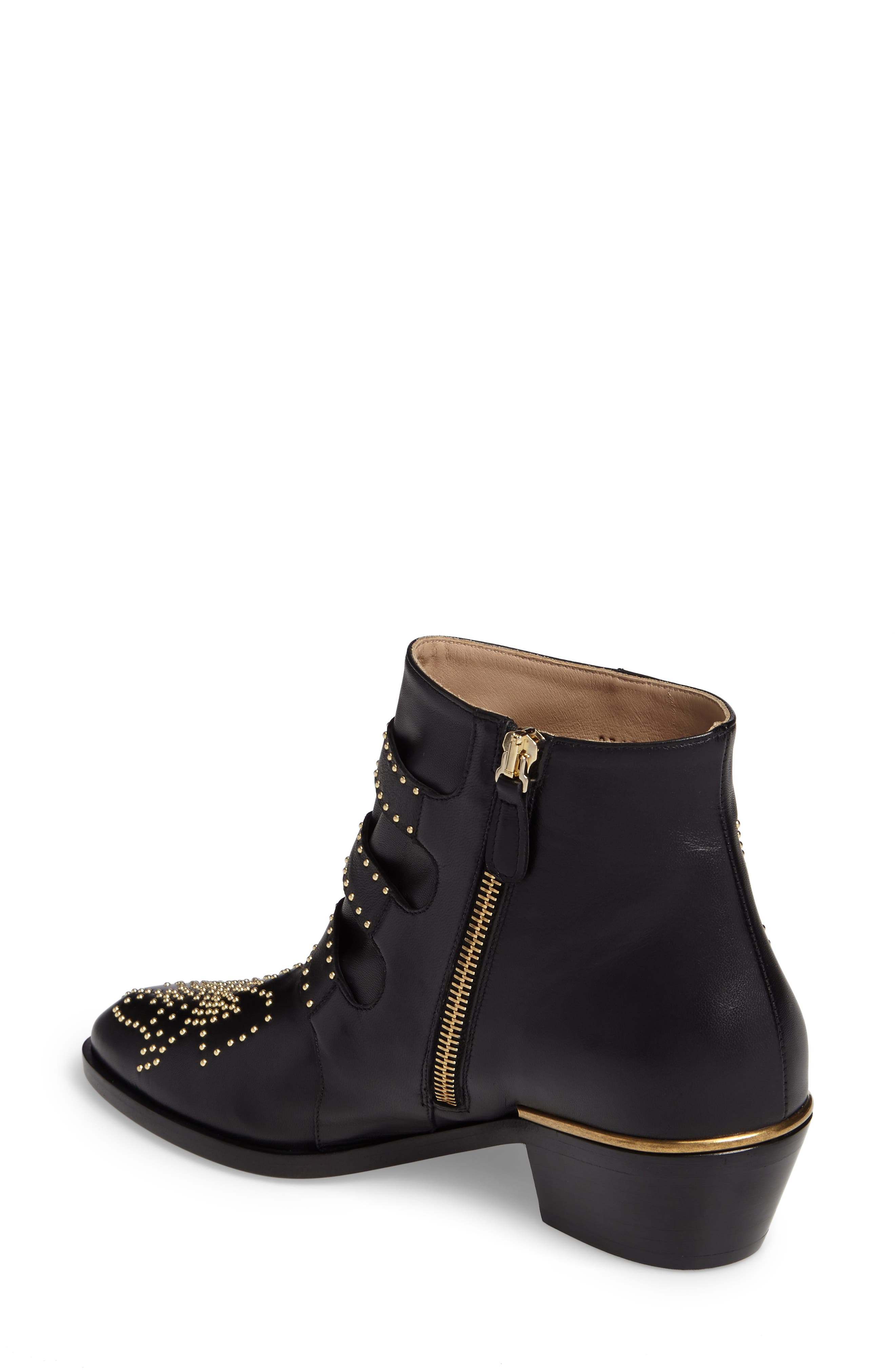CHLOÉ, Susanna Stud Buckle Bootie, Alternate thumbnail 2, color, BLACK GOLD LEATHER