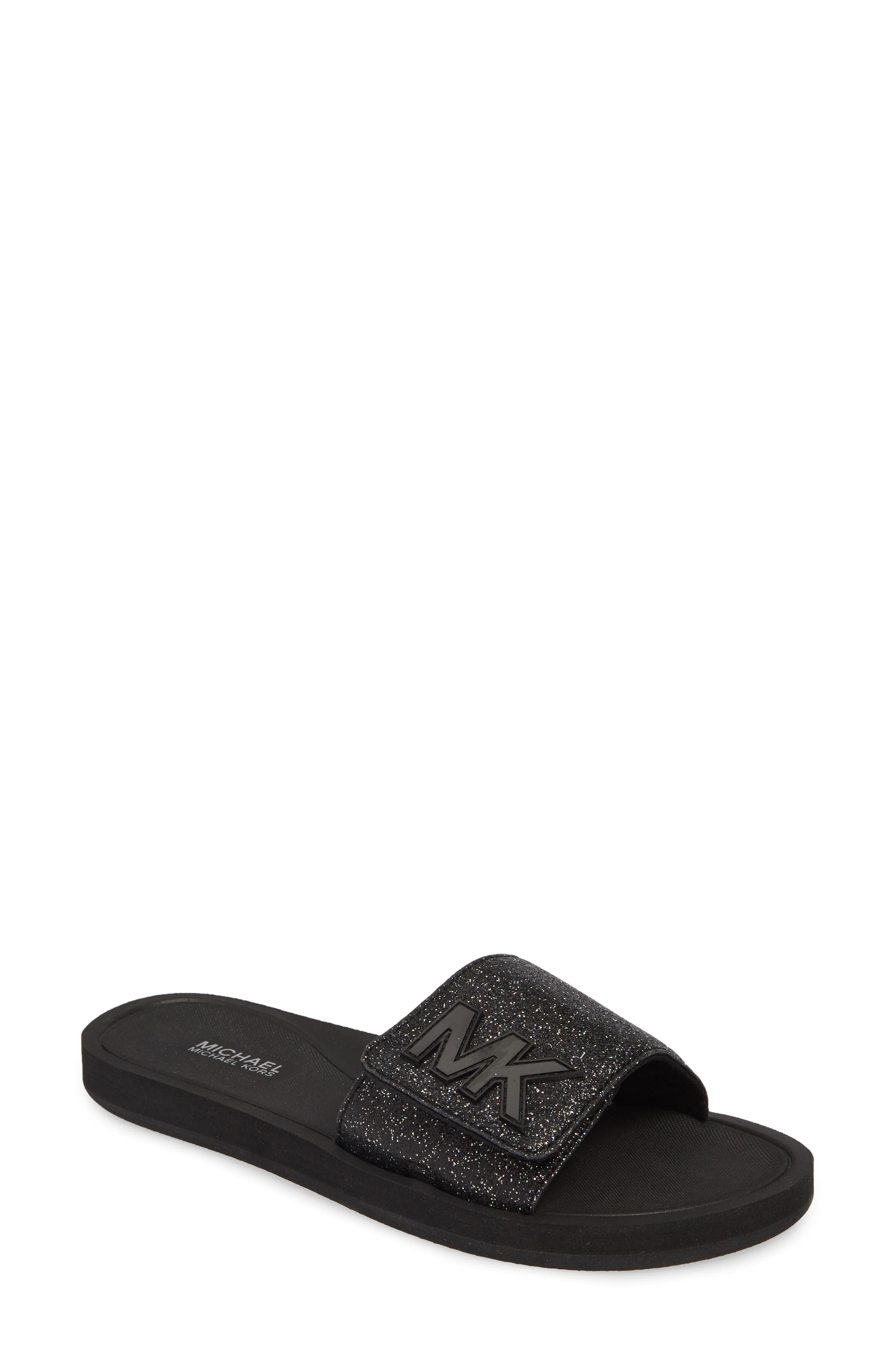 MICHAEL MICHAEL KORS MK Logo Slide Sandal, Main, color, BLACK GLITTER