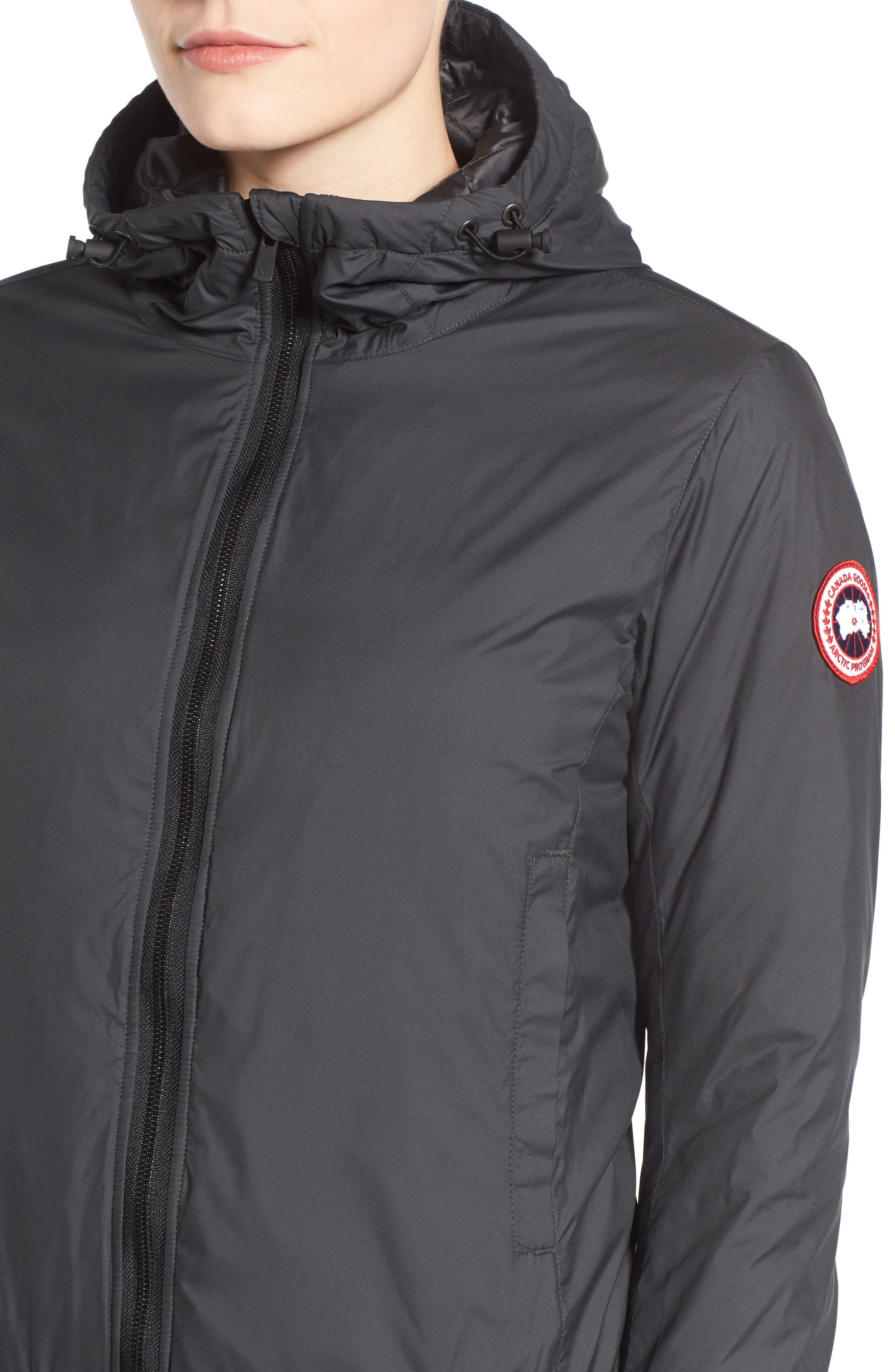 CANADA GOOSE, Dore Goose Down Hooded Jacket, Alternate thumbnail 5, color, BLACK