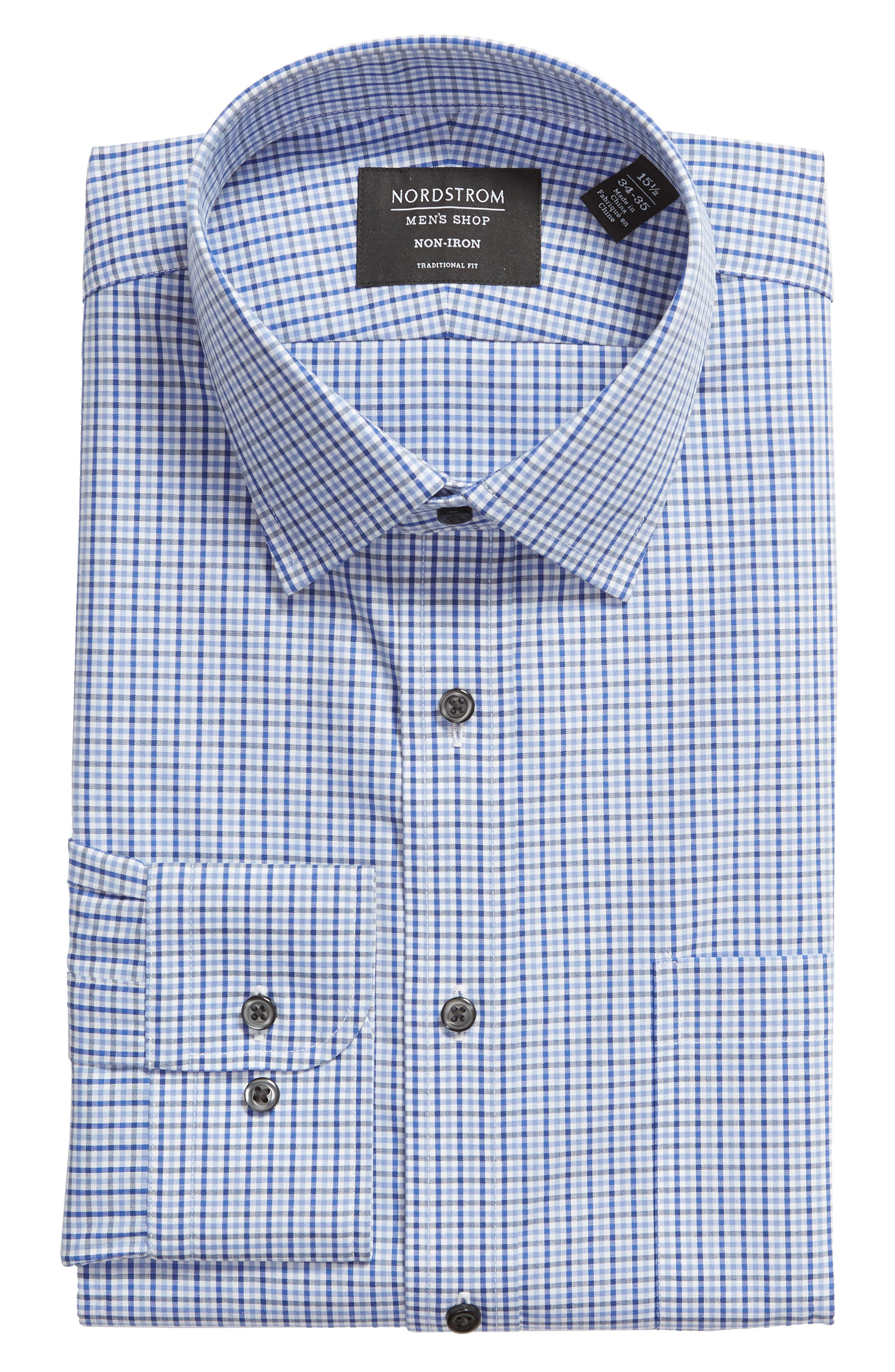 NORDSTROM MEN'S SHOP, Traditional Fit Non-Iron Check Dress Shirt, Alternate thumbnail 5, color, BLUE MARINE