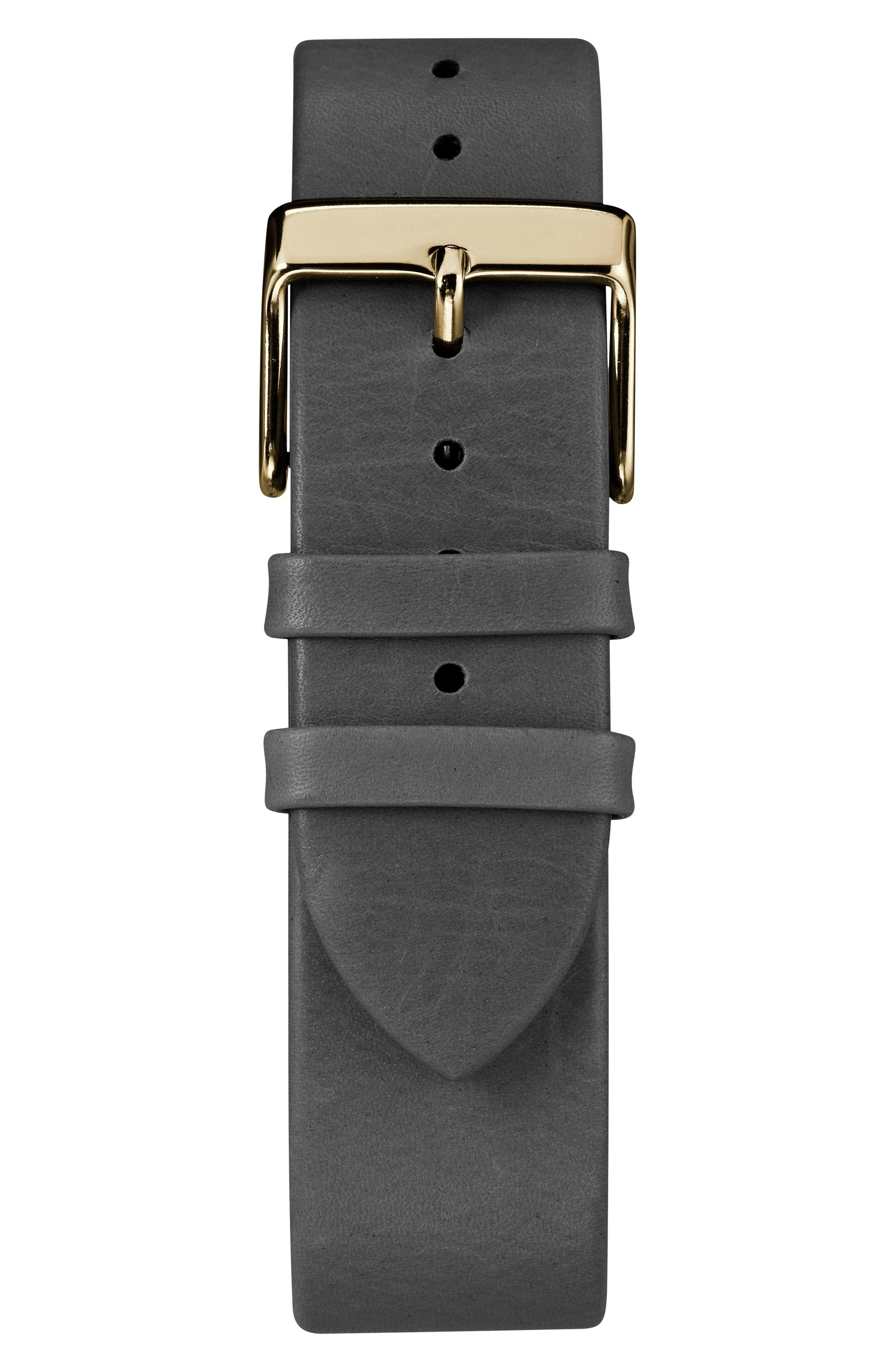 TIMEX<SUP>®</SUP>, Fairfield Leather Strap Watch, 41mm, Alternate thumbnail 3, color, BLACK/ GOLD