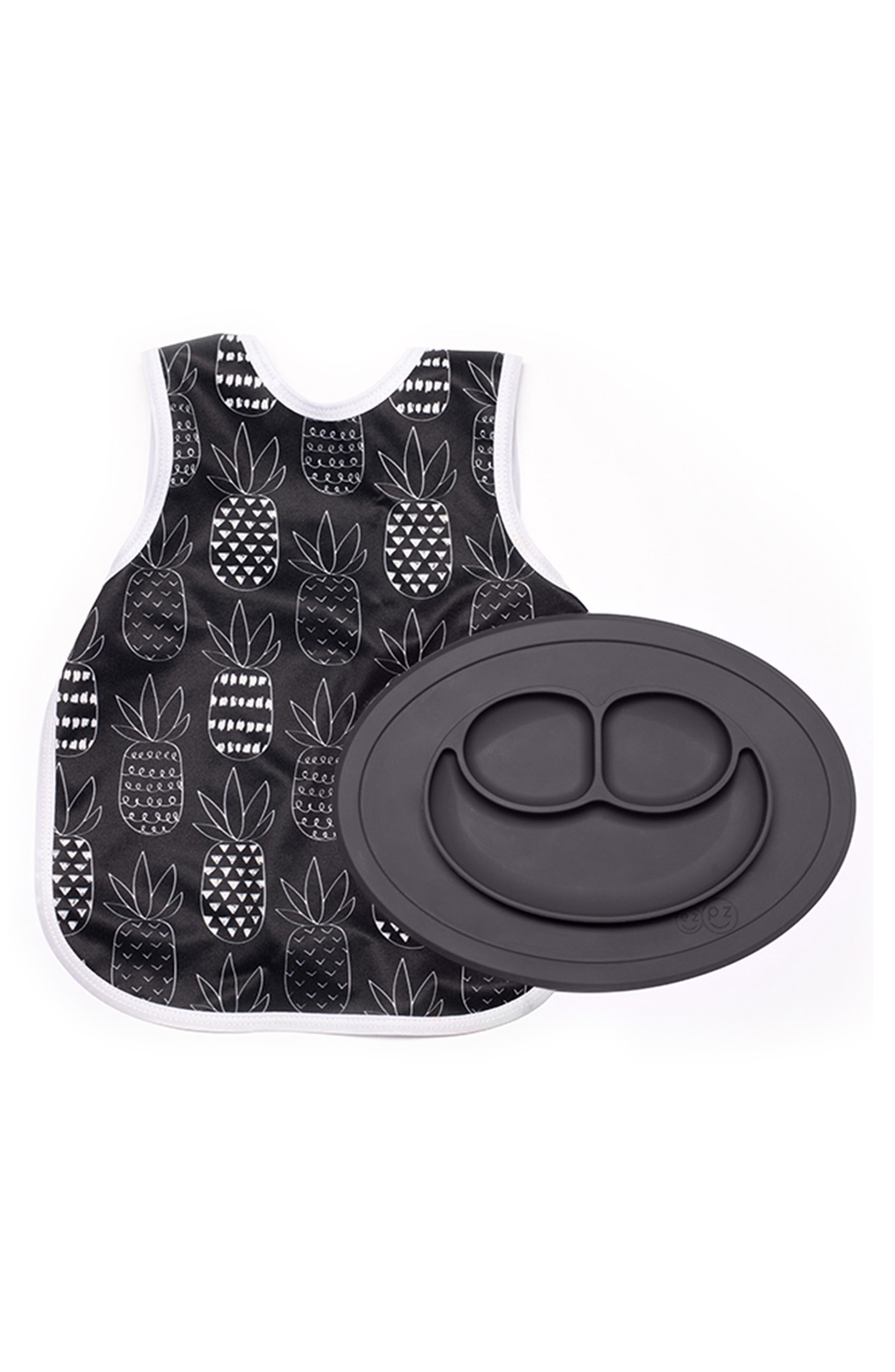 EZPZ Monochrome Bapron & Mini Silicone Feeding Mat, Main, color, BLACK/ WHITE