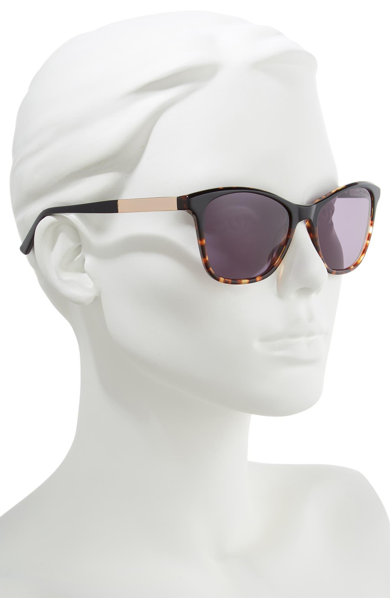 TED BAKER LONDON, 55mm Square Cat Eye Sunglasses, Alternate thumbnail 2, color, BLACK HAVANA/ GOLD/ PURPLE