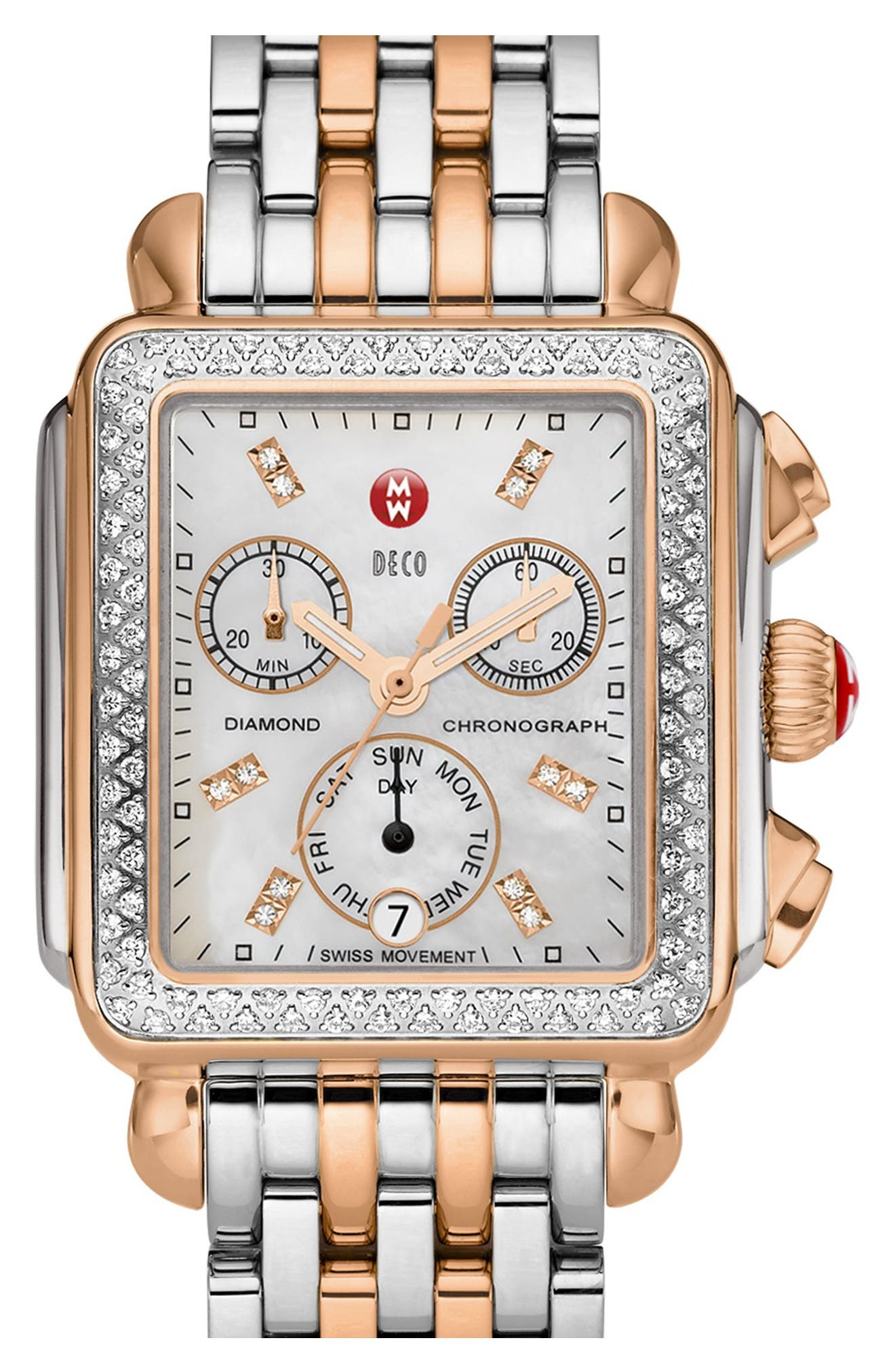 MICHELE, Deco Diamond Diamond Dial Watch Case, 33mm x 35mm, Alternate thumbnail 2, color, SILVER/ ROSE GOLD