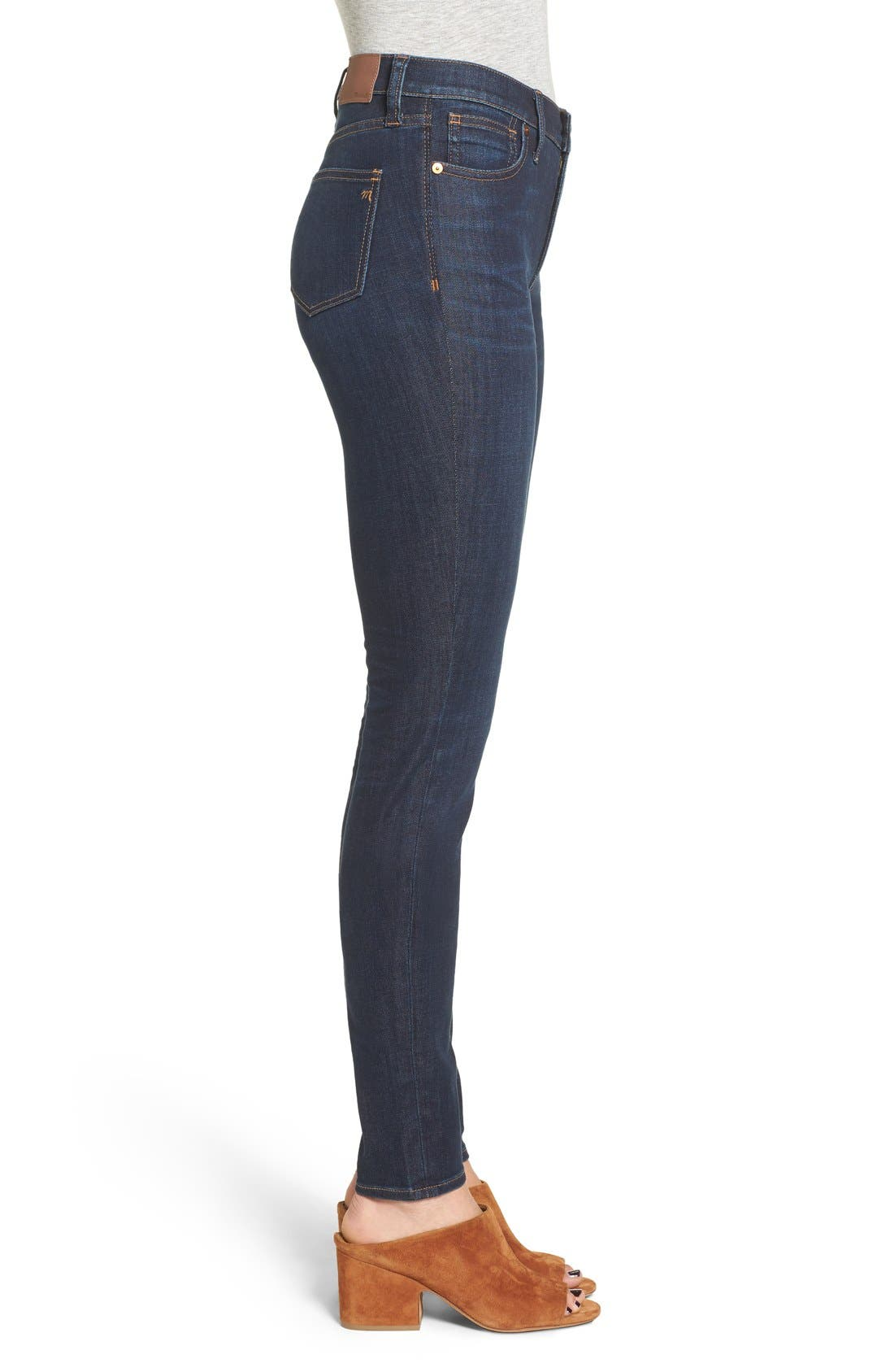 MADEWELL, 9-Inch High Rise Skinny Jeans, Alternate thumbnail 14, color, LARKSPUR