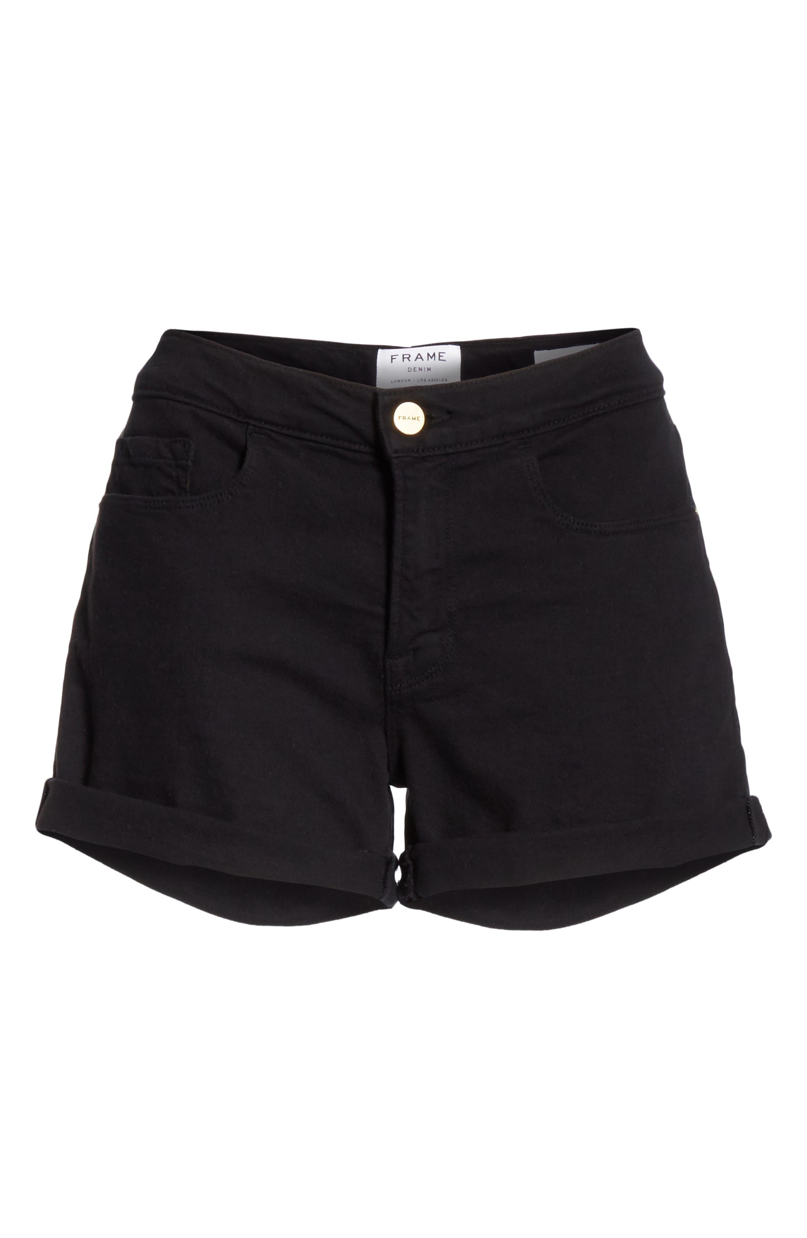 FRAME, Le Cutoff Cuffed Jean Shorts, Alternate thumbnail 7, color, NOIR