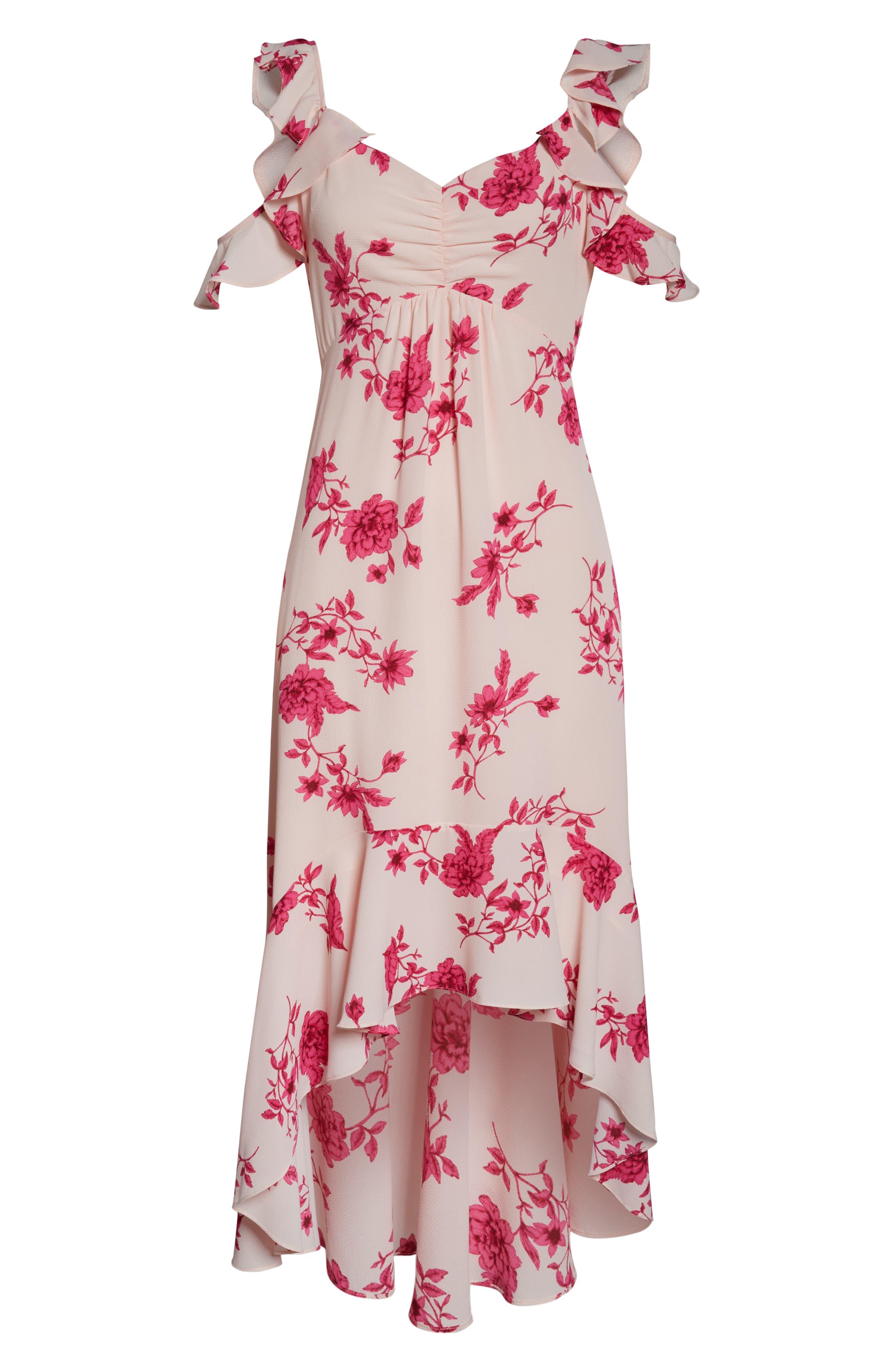 CECE, Etched Floral High/Low Midi Dress, Alternate thumbnail 3, color, SECRET BLUSH