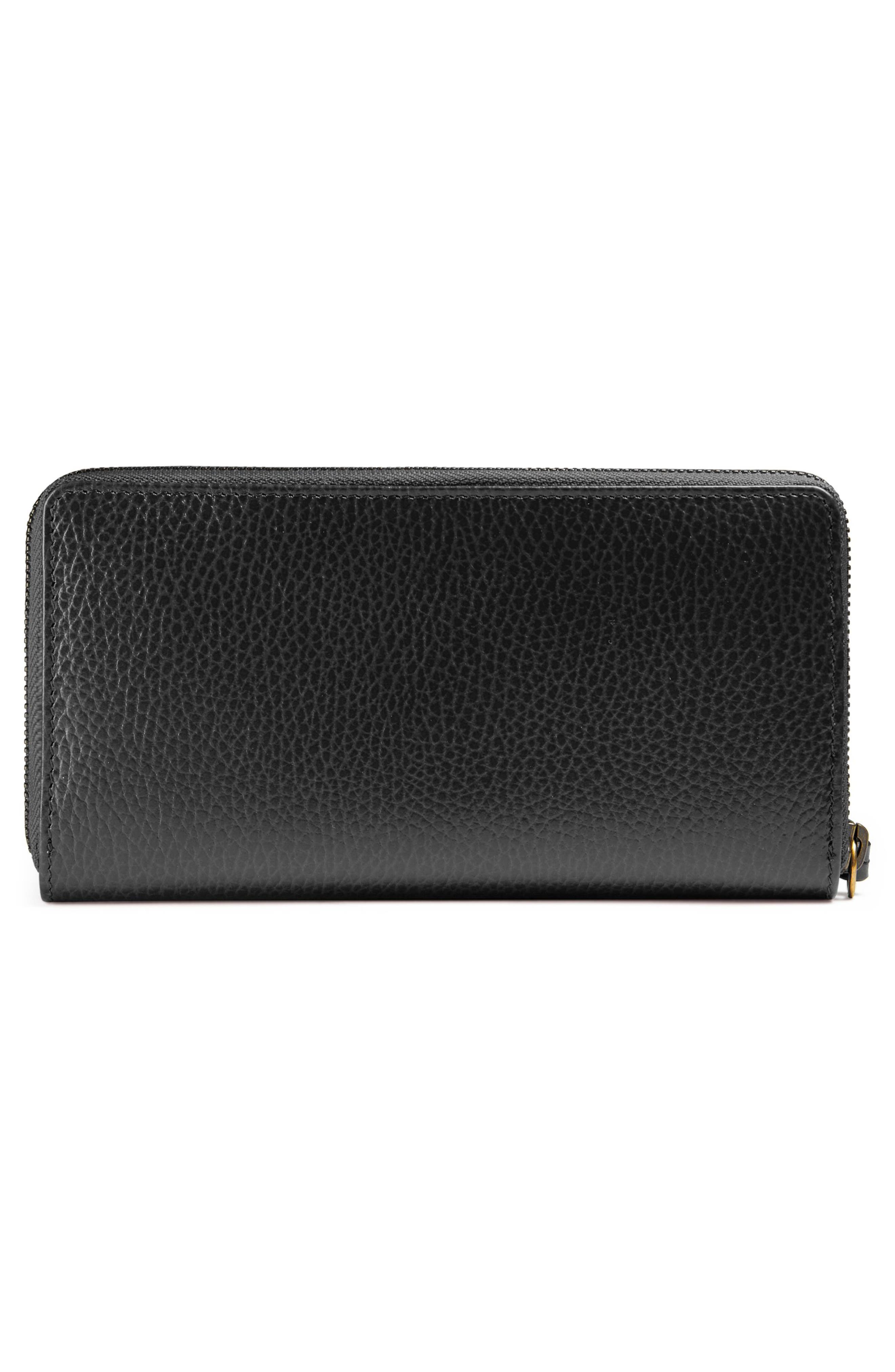 GUCCI, Farfalla Zip Around Leather Wallet, Alternate thumbnail 3, color, NERO/ CRYSTAL