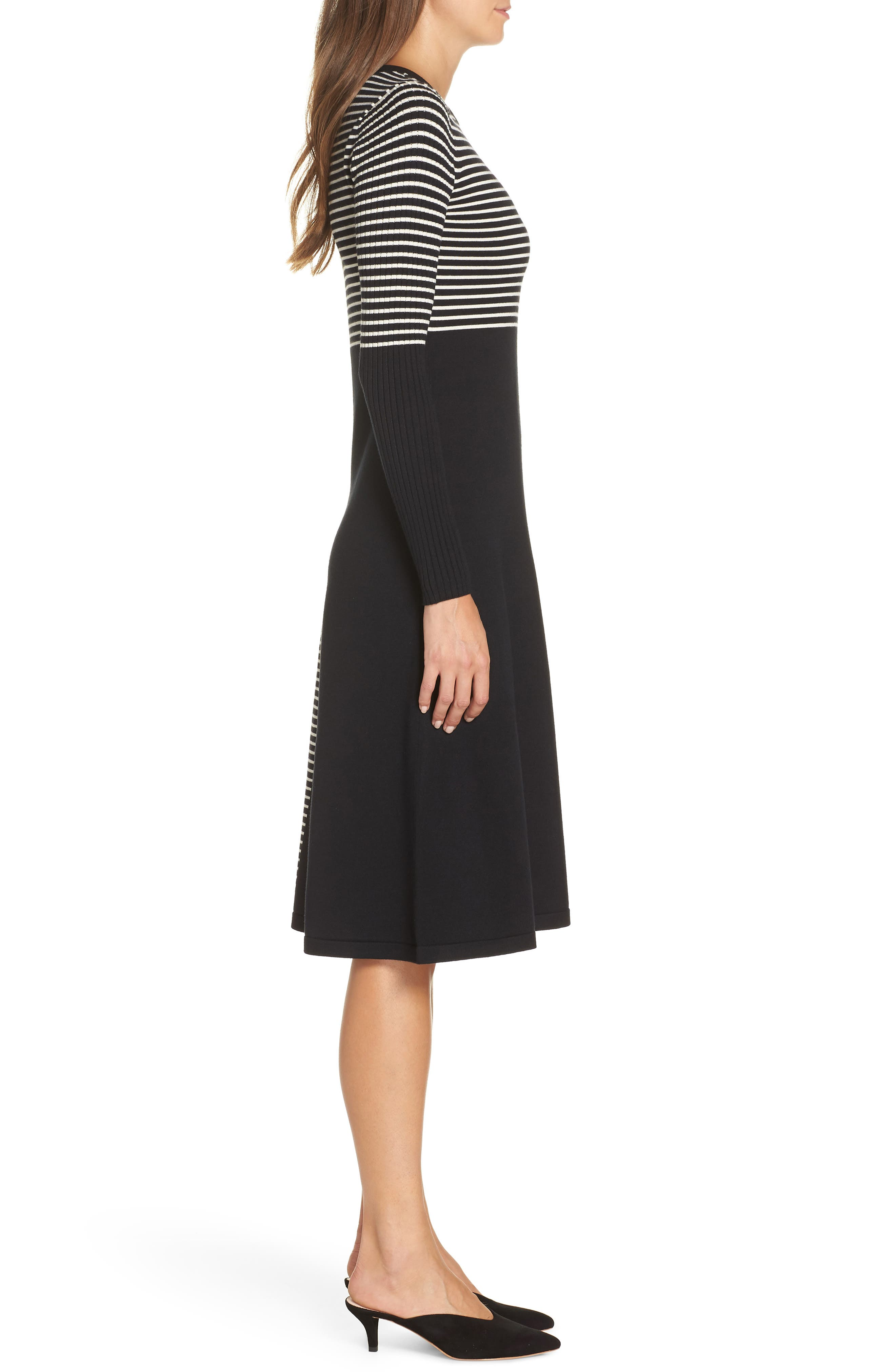 ELIZA J, Placed Stripe Sweater Dress, Alternate thumbnail 4, color, 900