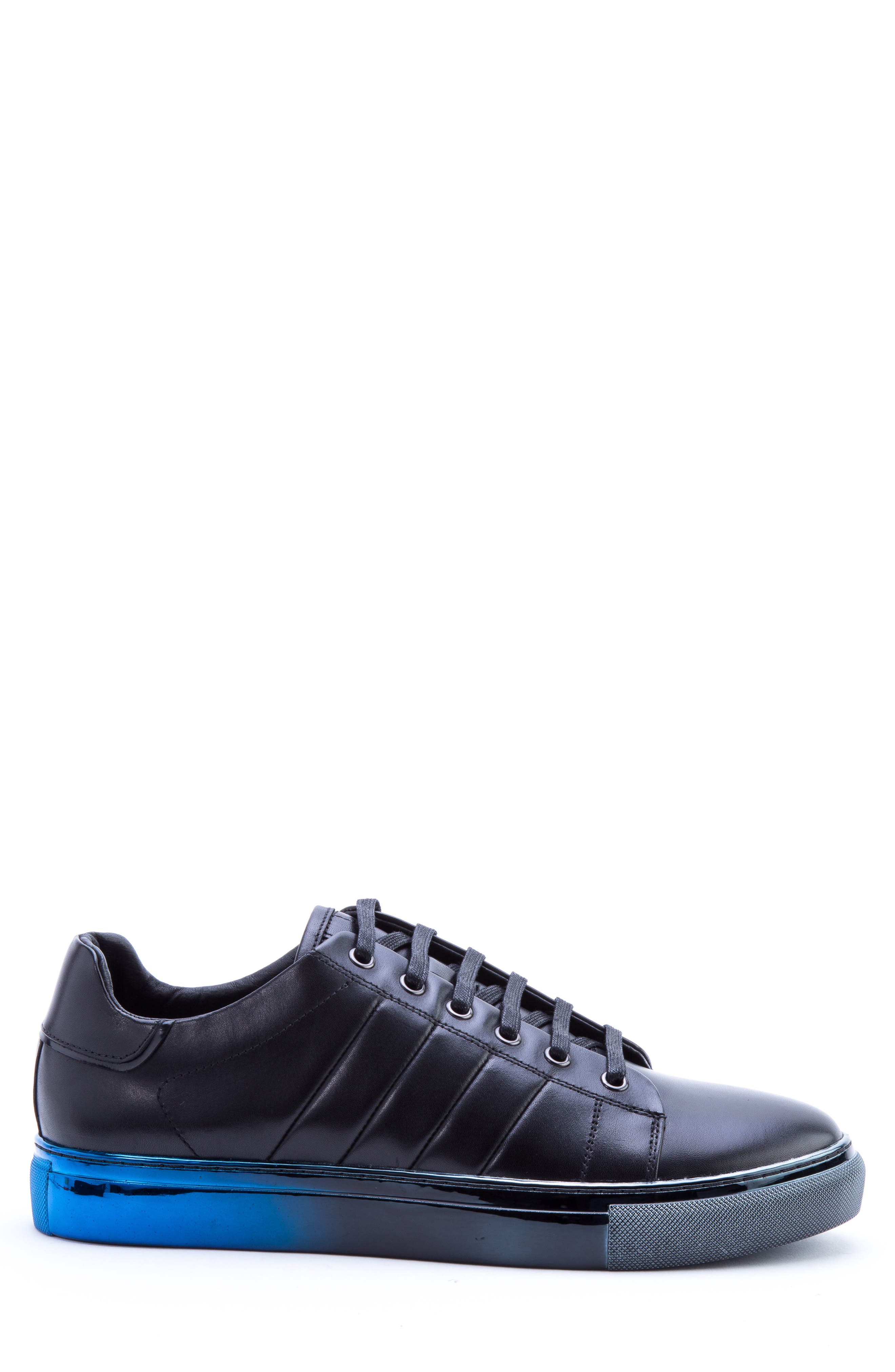 BADGLEY MISCHKA COLLECTION, Badgley Mischka Brando Sneaker, Alternate thumbnail 3, color, BLACK LEATHER
