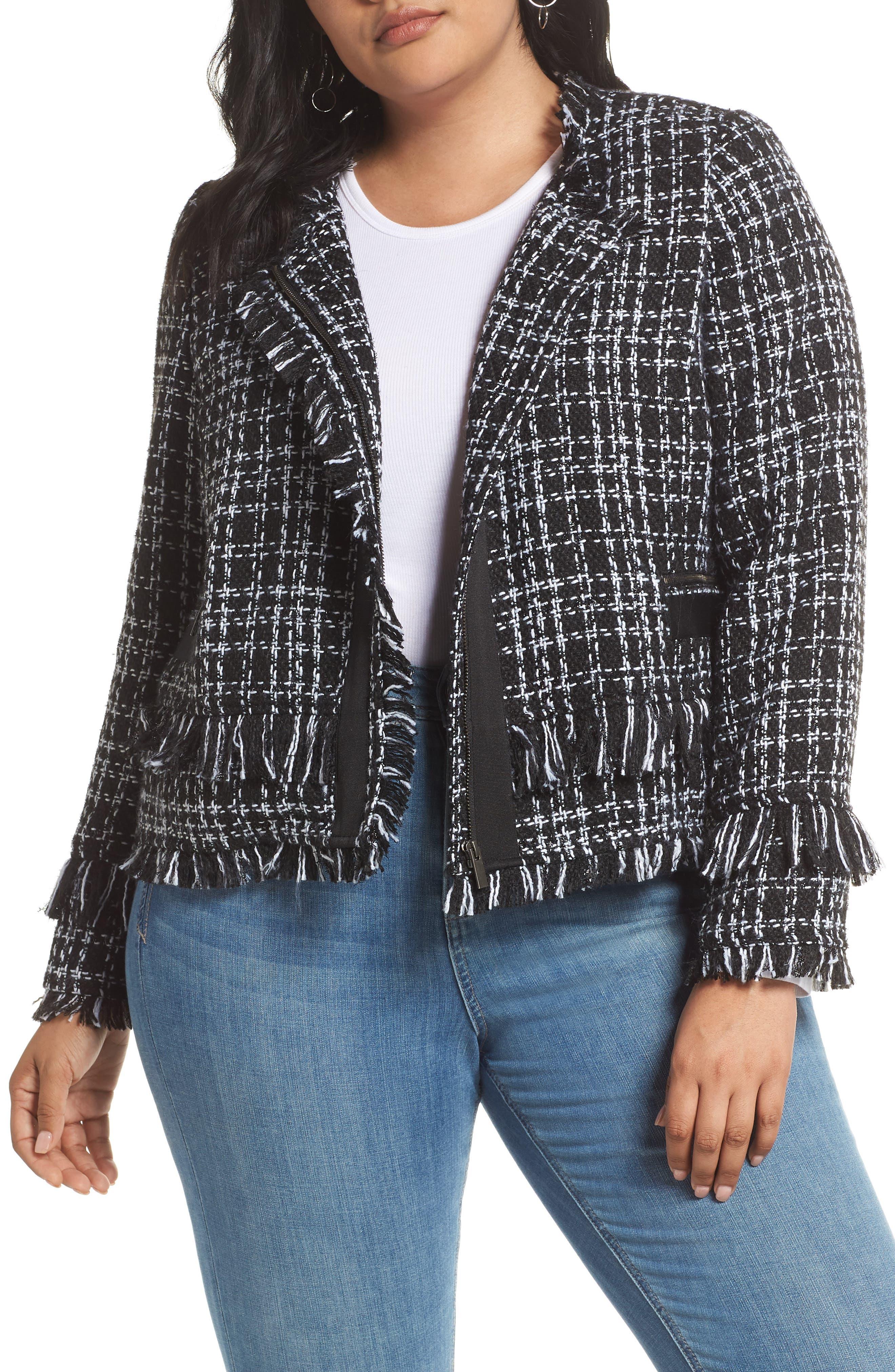 HALOGEN<SUP>®</SUP>, Tweed Fringe Jacket, Main thumbnail 1, color, BLACK- WHITE TWEED