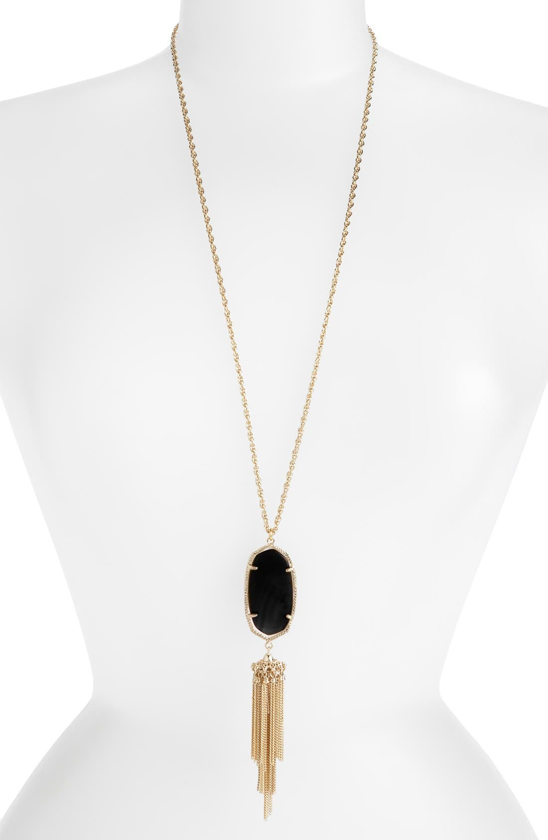 KENDRA SCOTT, Rayne Stone Tassel Pendant Necklace, Alternate thumbnail 2, color, 001