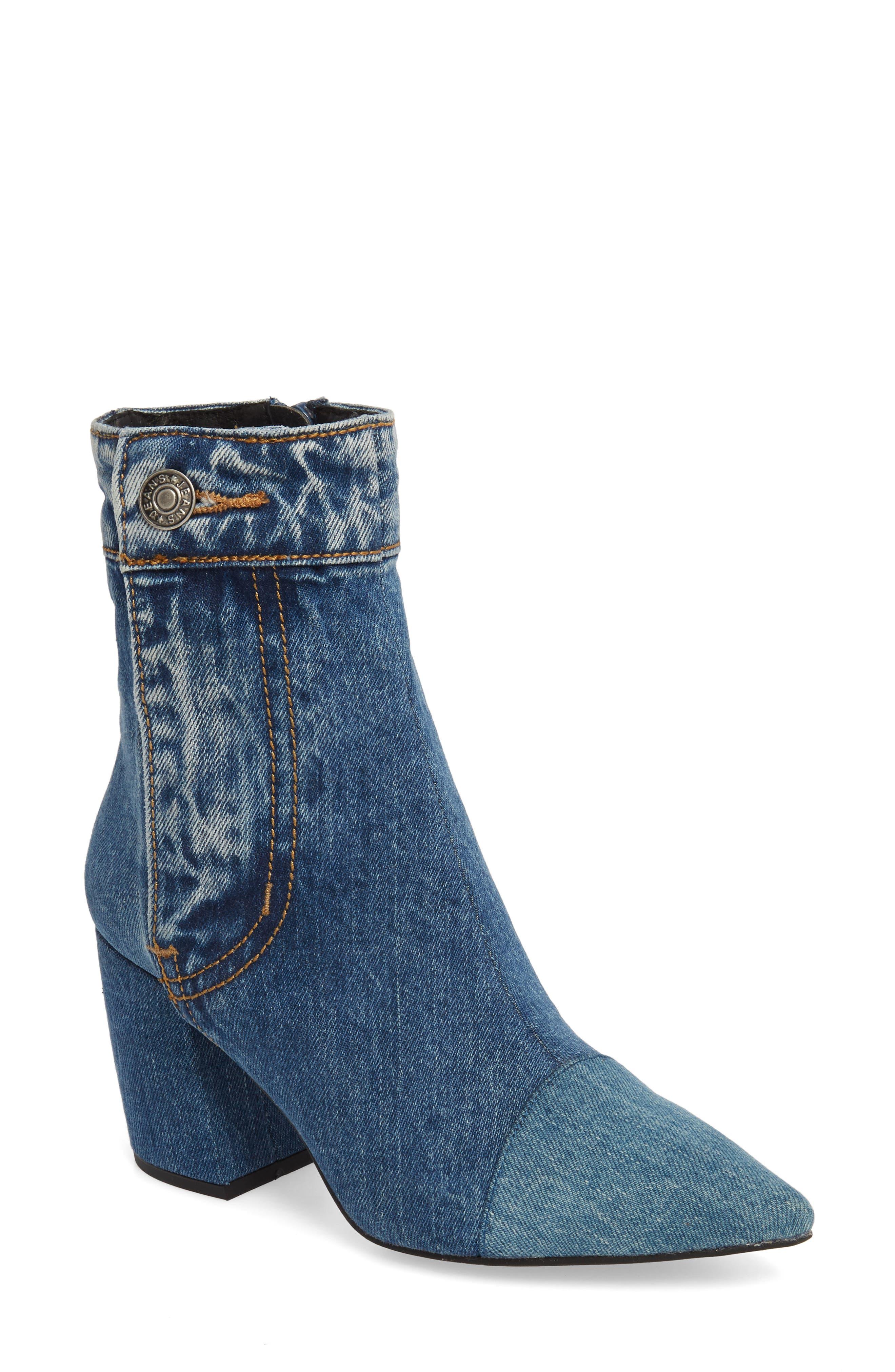 JEFFREY CAMPBELL Finite Block Heel Bootie, Main, color, BLUE DENIM