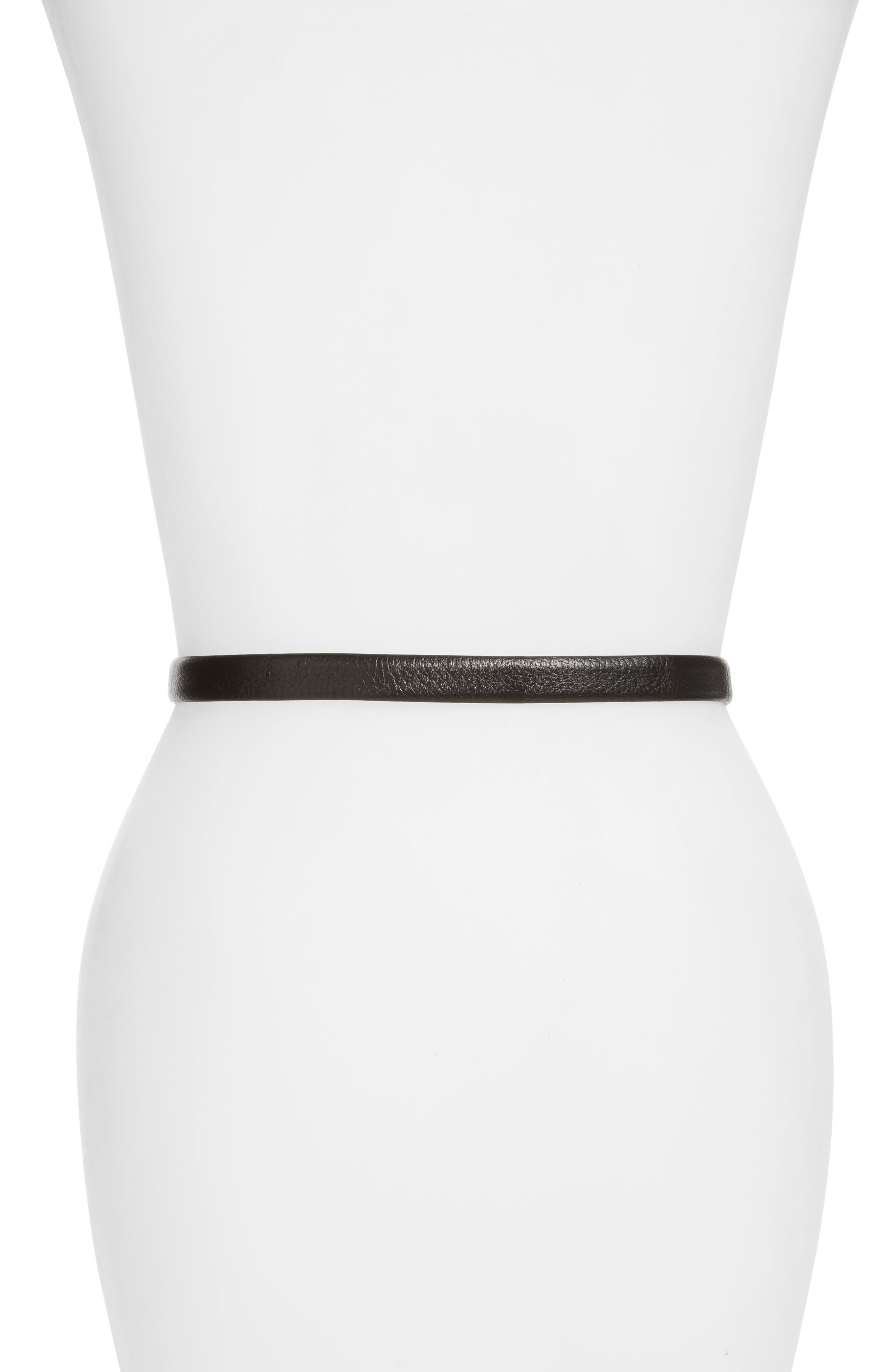 MOSCHINO, Logo Leather Skinny Belt, Alternate thumbnail 2, color, BLACK