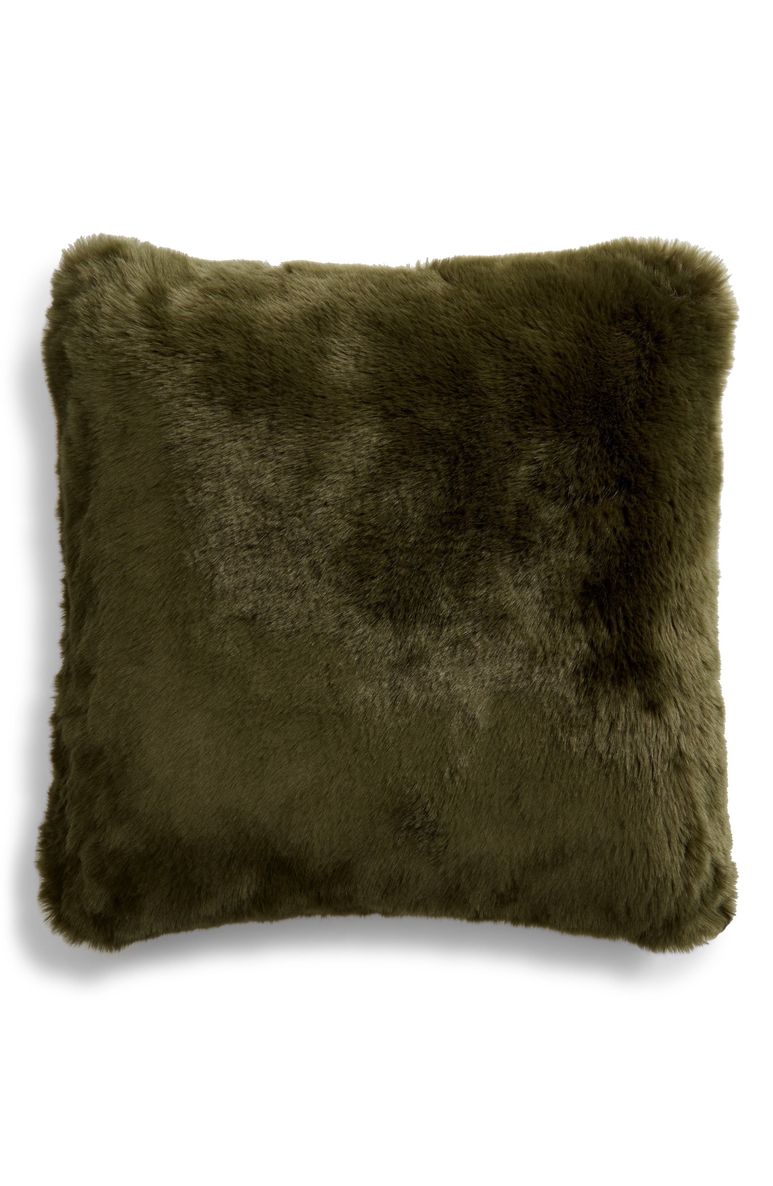 NORDSTROM AT HOME, Cuddle Up Faux Fur Pillow, Main thumbnail 1, color, GREEN CYPRESS
