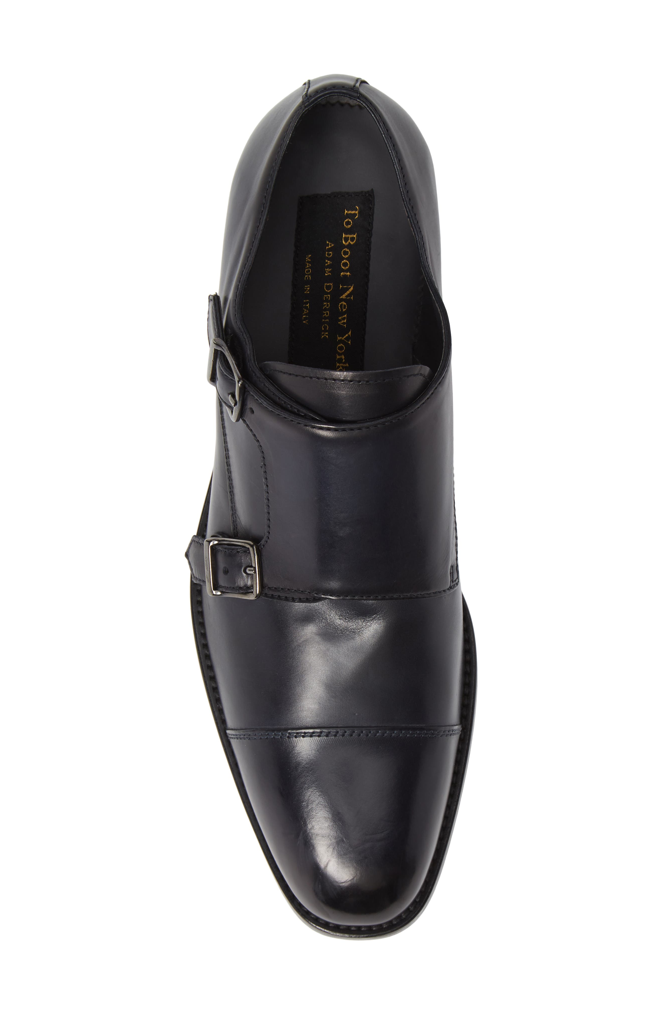 TO BOOT NEW YORK, Quentin Cap Toe Monk Shoe, Alternate thumbnail 5, color, BLUE MARINE LEATHER