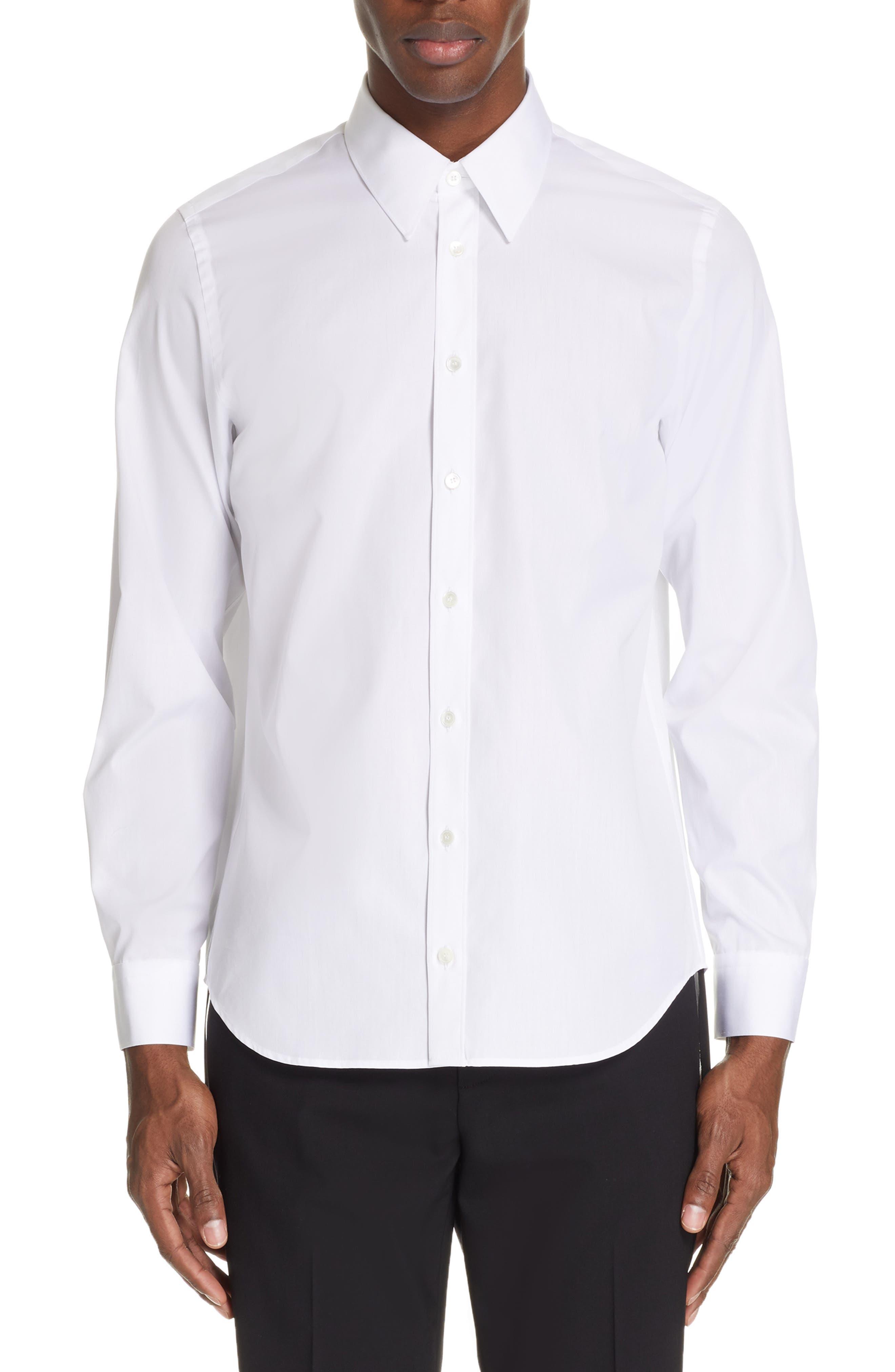 HELMUT LANG, Logo Back Long Sleeve Woven Shirt, Main thumbnail 1, color, WHITE AND BLACK