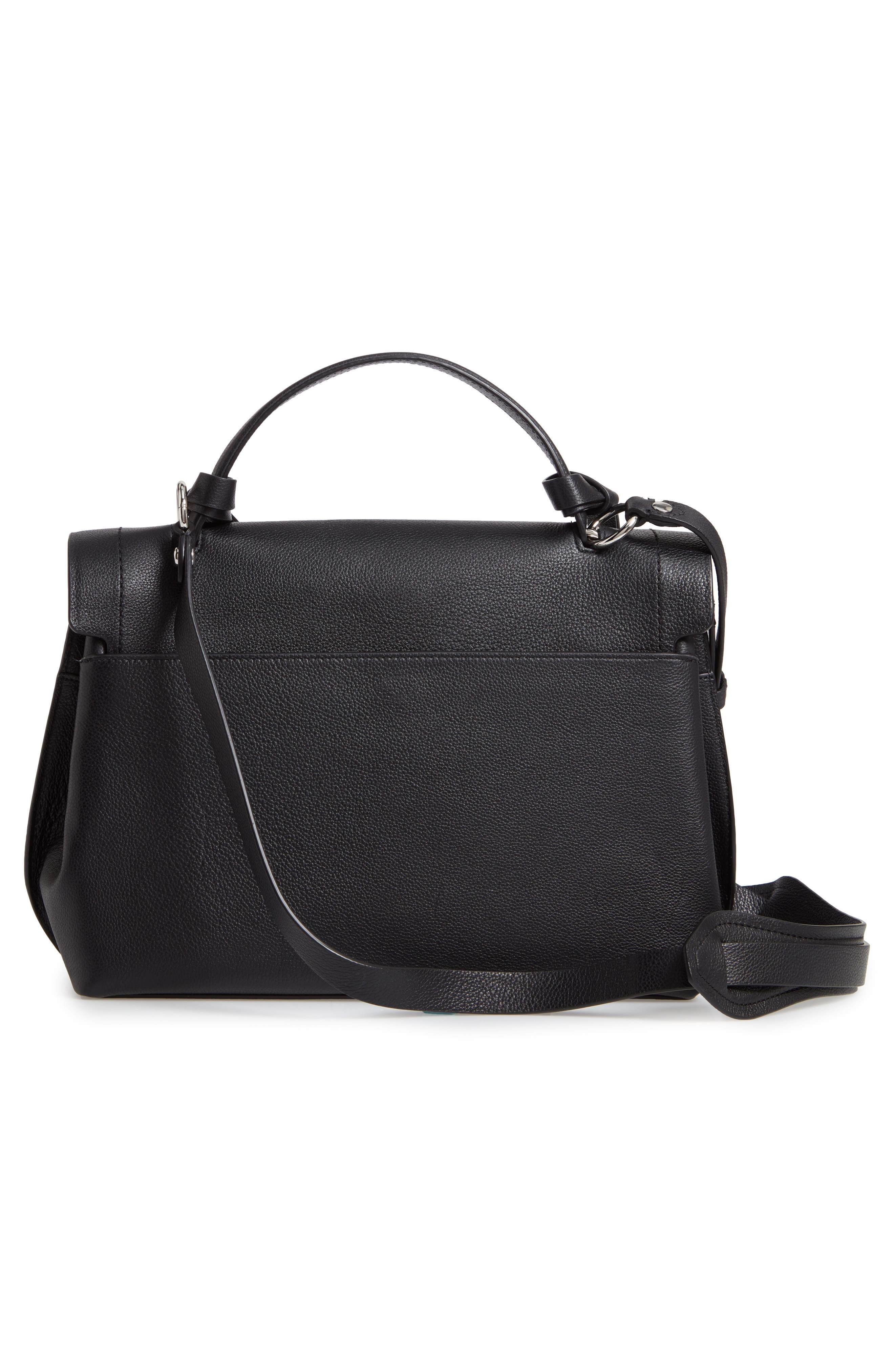 REBECCA MINKOFF, Stella Leather Satchel, Alternate thumbnail 4, color, 001