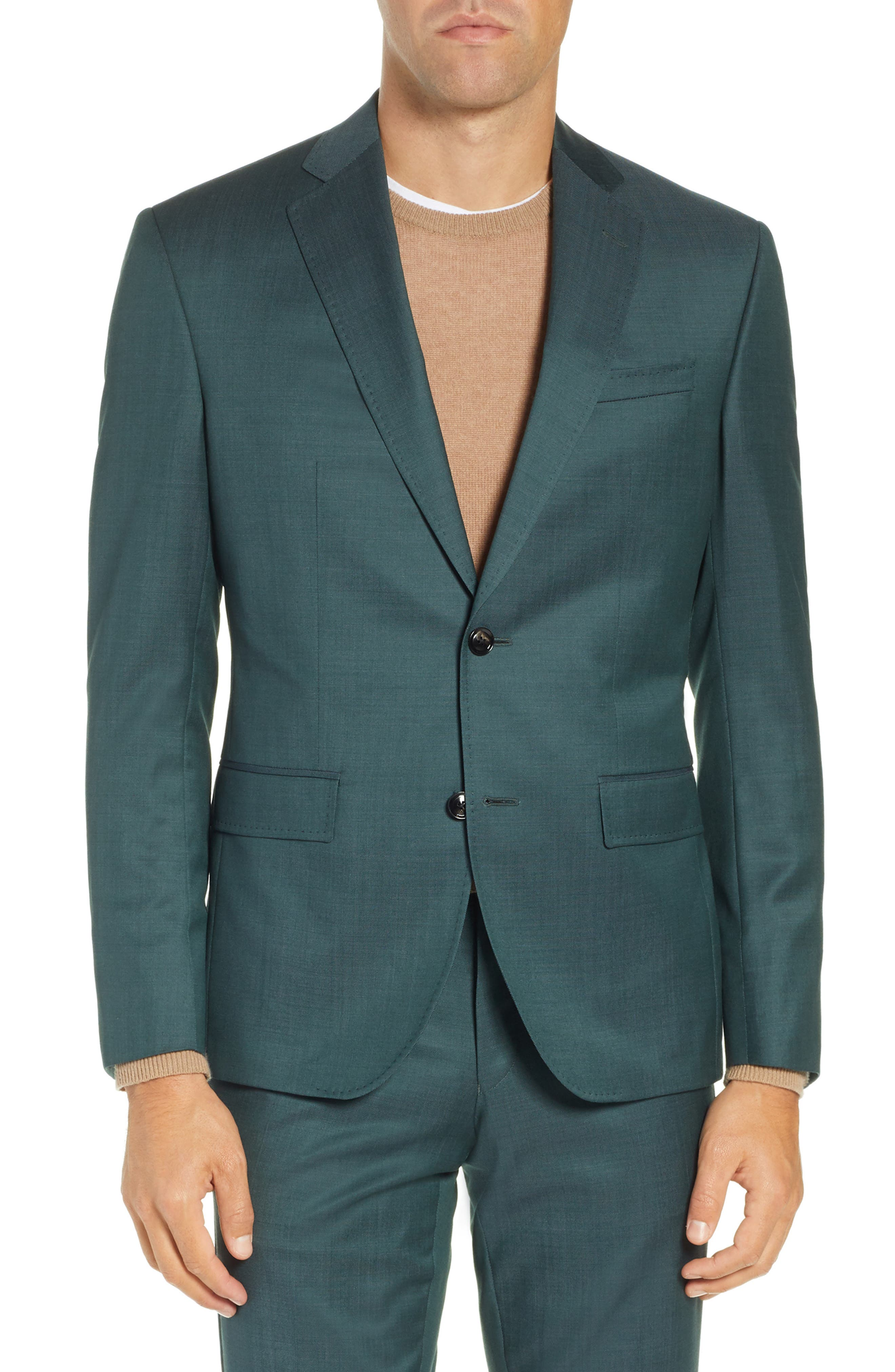 TED BAKER LONDON, Roger Slim Fit Solid Wool Suit, Alternate thumbnail 5, color, GREEN