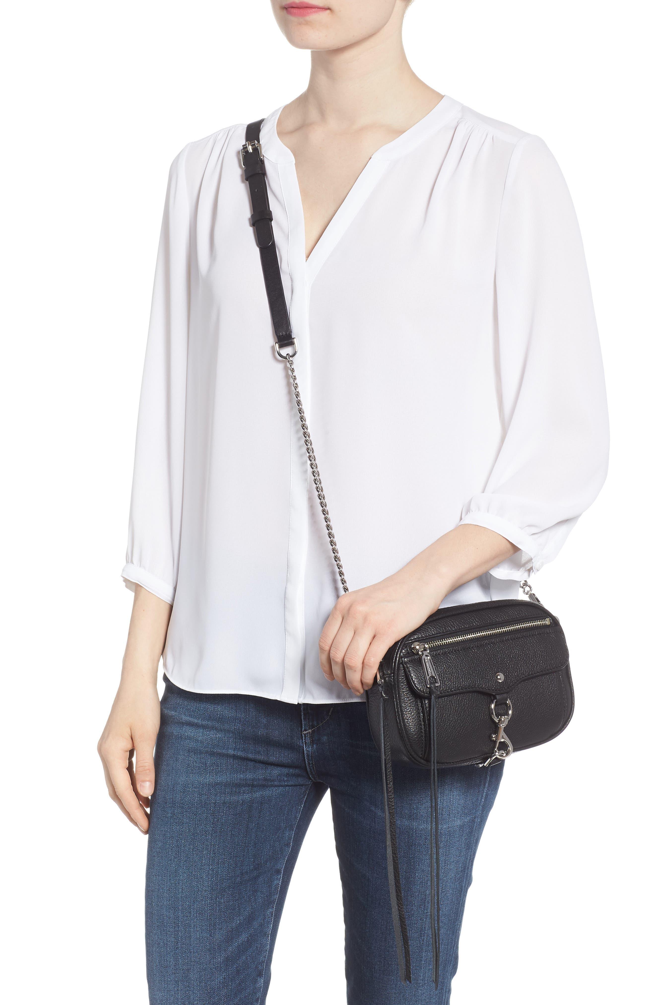 REBECCA MINKOFF, Blythe Leather Crossbody Bag, Alternate thumbnail 2, color, BLACK