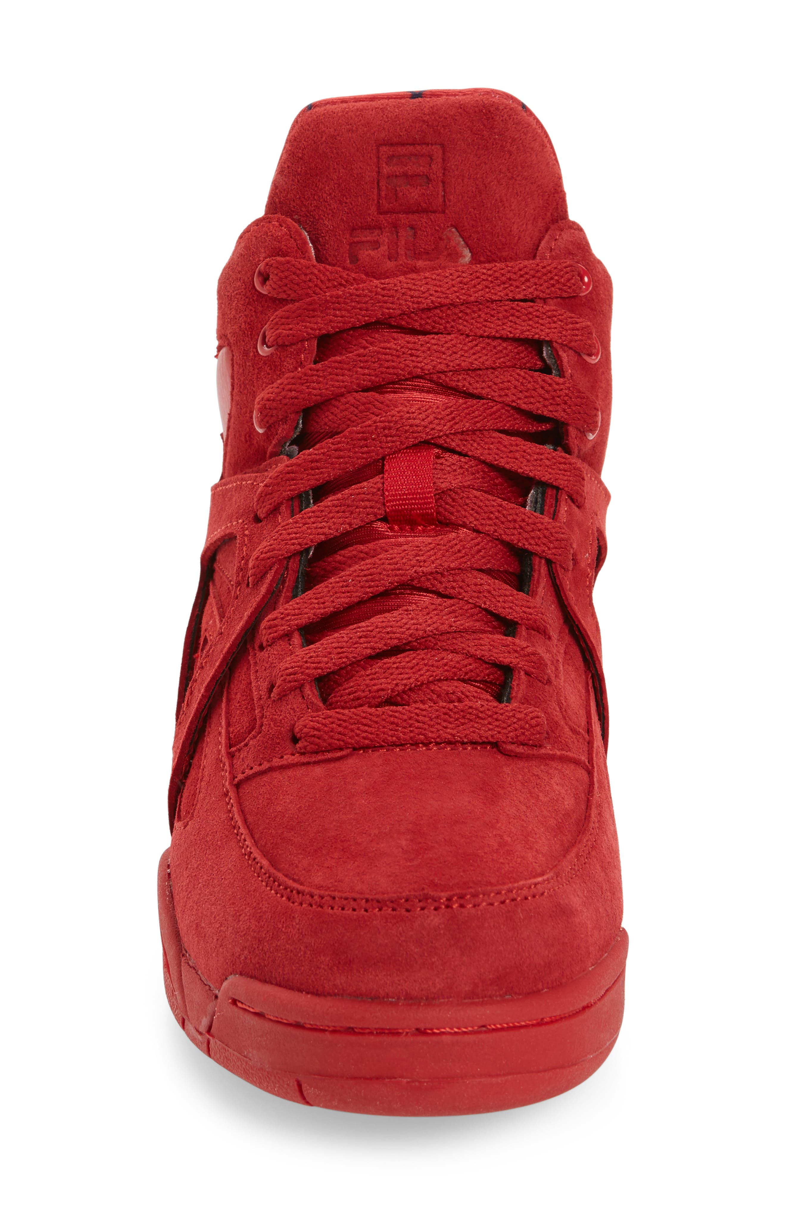 FILA, The Cage High Top Sneaker, Alternate thumbnail 3, color, RED SUEDE