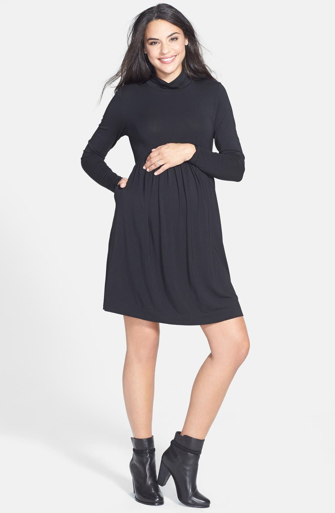 TART MATERNITY, 'Rhiannon' Turtleneck Fit & Flare Maternity Dress, Main thumbnail 1, color, BLACK
