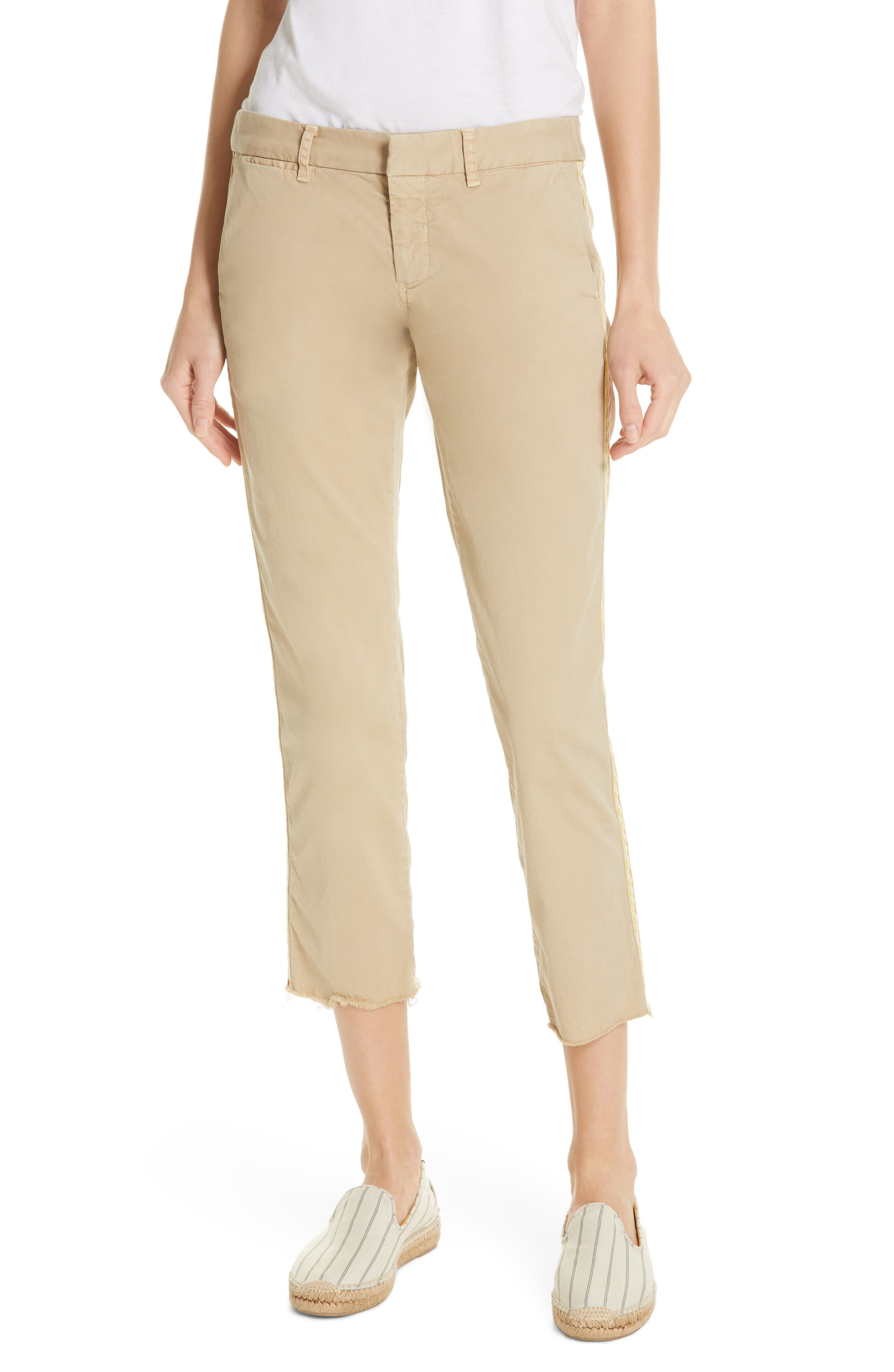 NILI LOTAN East Hampton Side Tape Crop Pants, Main, color, DESRT SAND ORANGE/ YELLOW TAPE