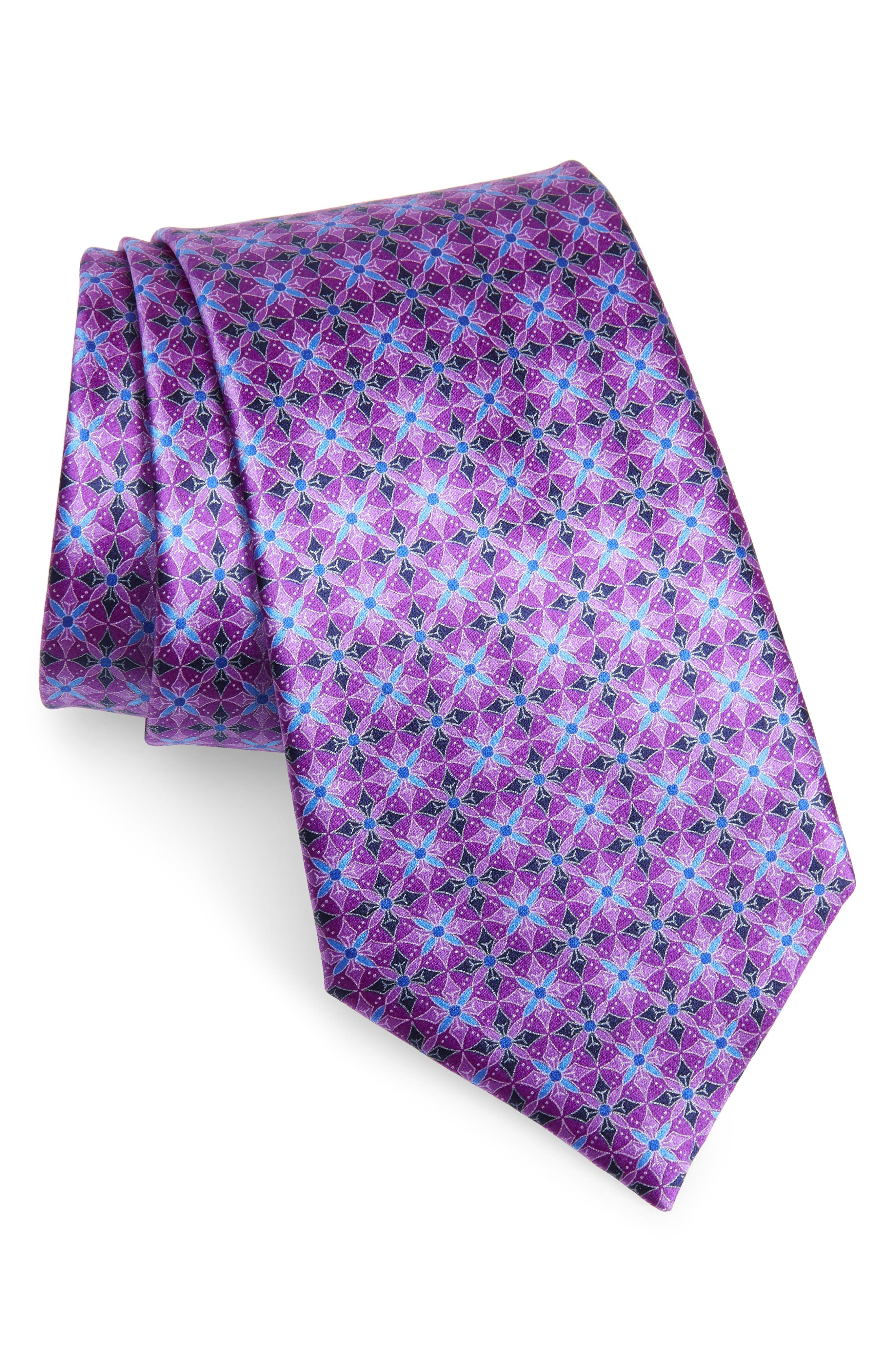 ERMENEGILDO ZEGNA, Geometric Silk Tie, Main thumbnail 1, color, PURPLE
