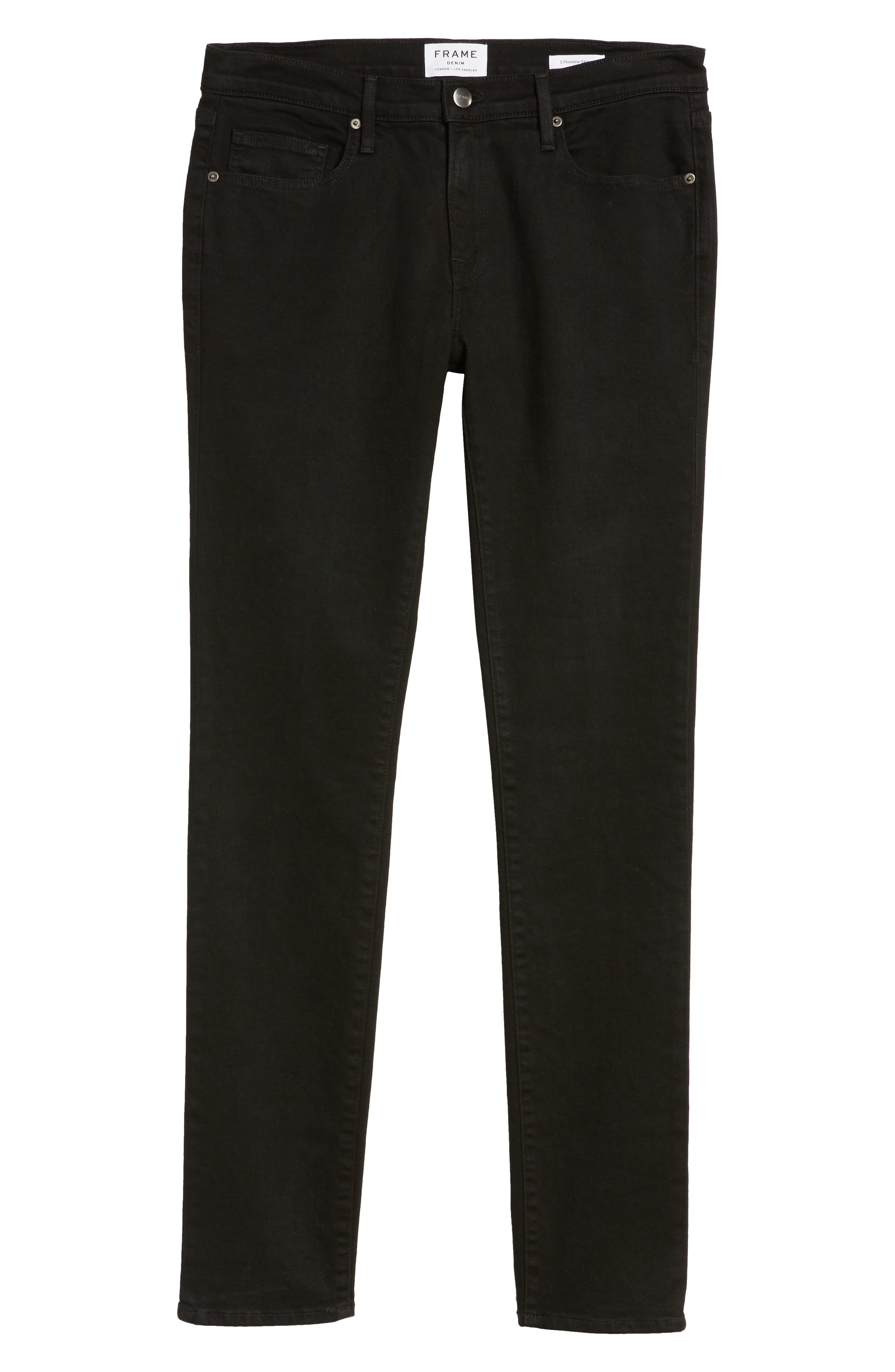 FRAME, L'Homme Skinny Fit Jeans, Alternate thumbnail 7, color, NOIR