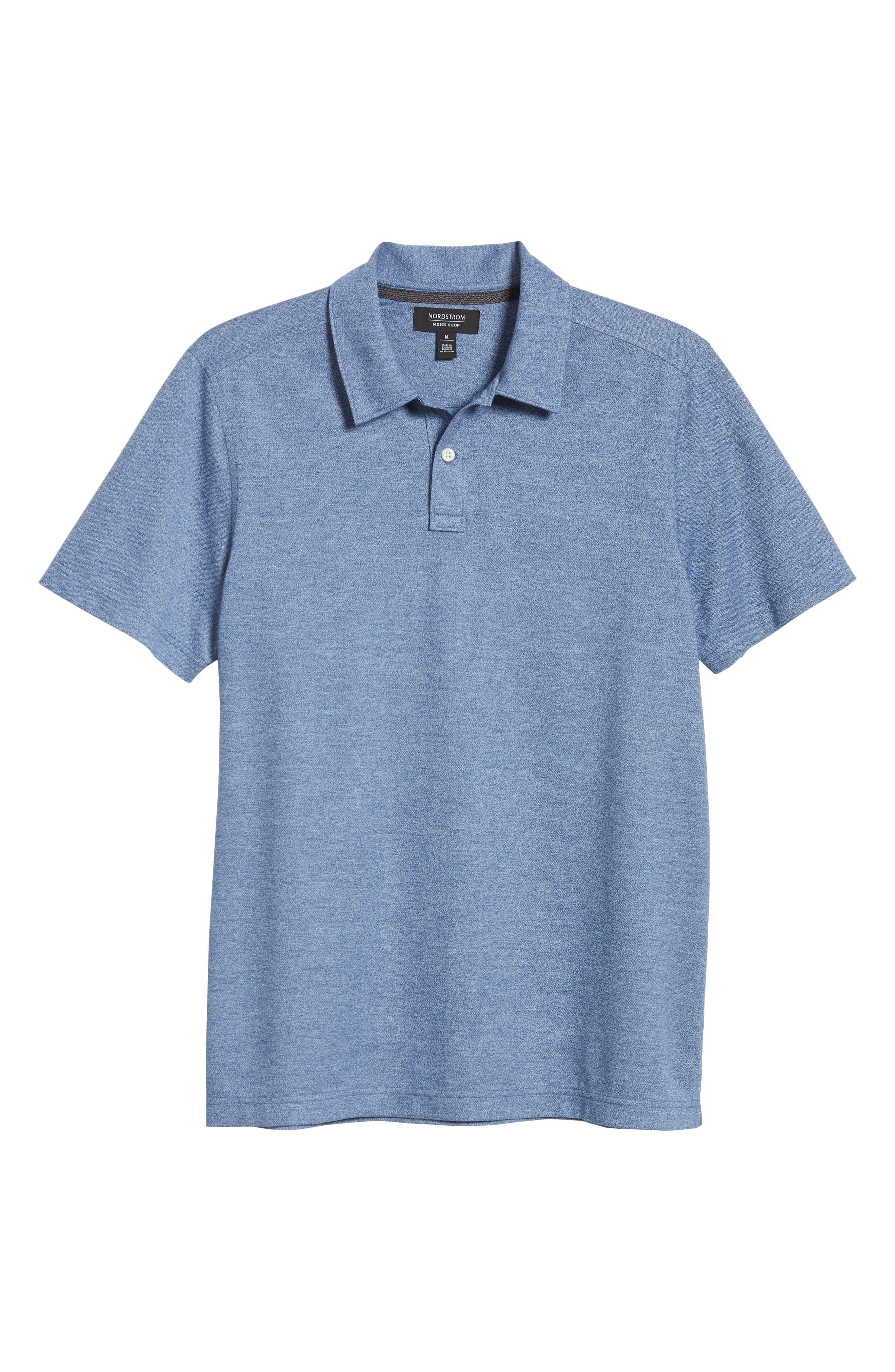 NORDSTROM MEN'S SHOP, Regular Fit Polo, Alternate thumbnail 6, color, BLUE CASPIA MELANGE