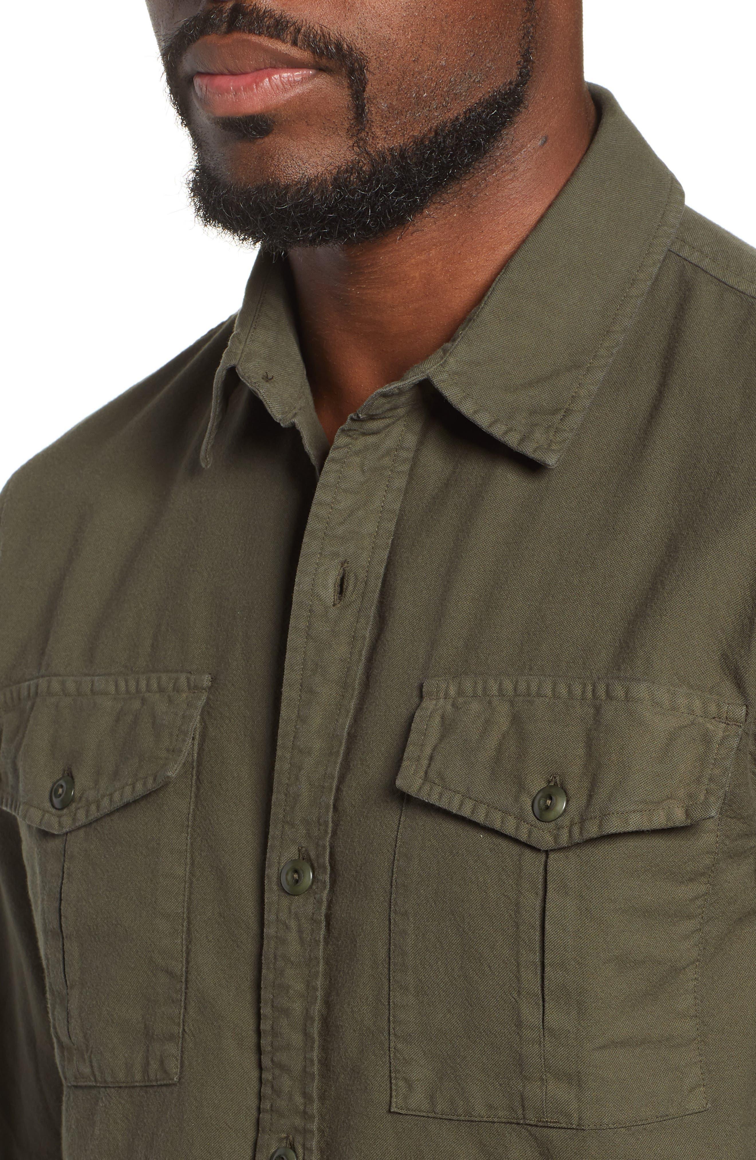AG, Pioneer Tri-Pocket Long Sleeve Slim Fit Sport Shirt, Alternate thumbnail 2, color, SULFUR OAK GROVE