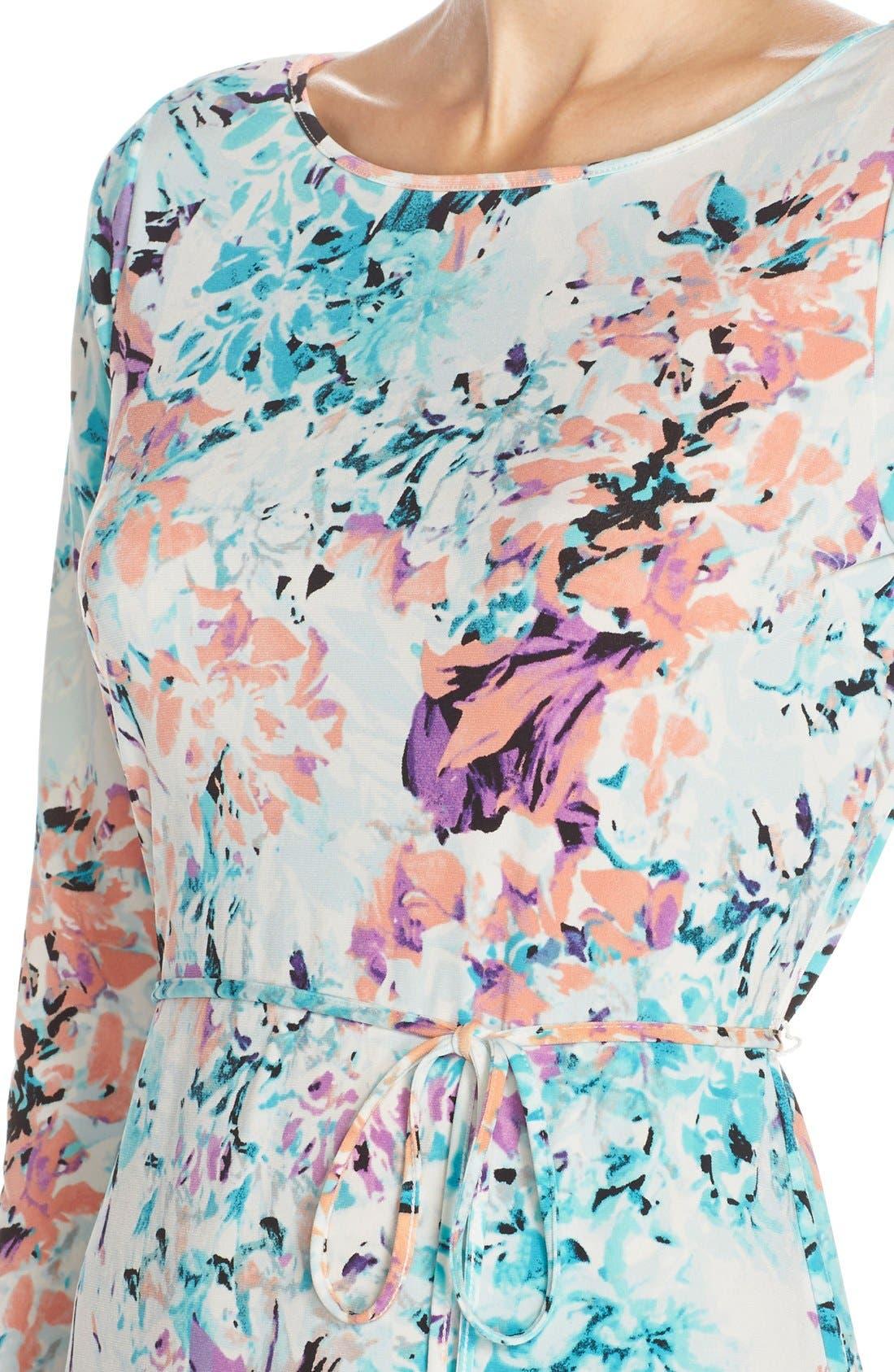 IVANKA TRUMP, Floral Print Jersey A-Line Dress, Alternate thumbnail 3, color, 101
