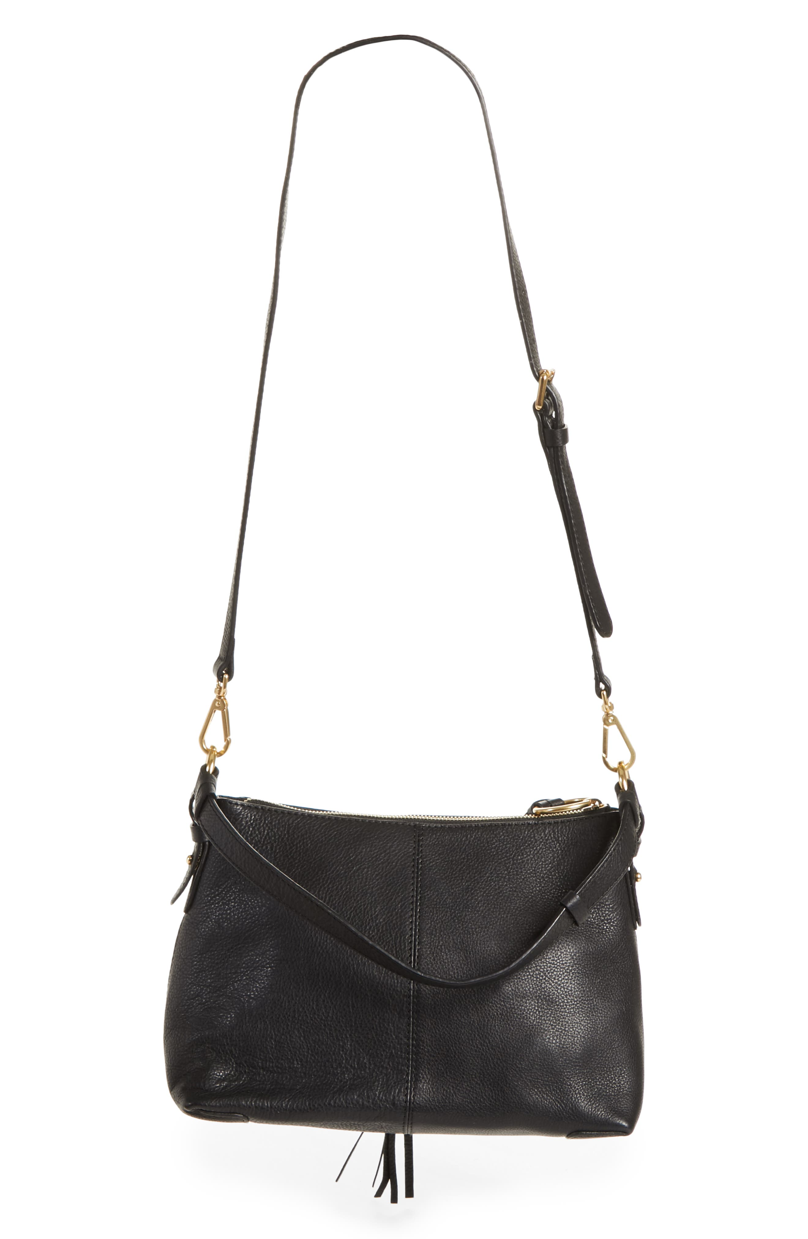 SEE BY CHLOÉ, Small Joan Suede & Leather Crossbody Bag, Alternate thumbnail 3, color, BLACK