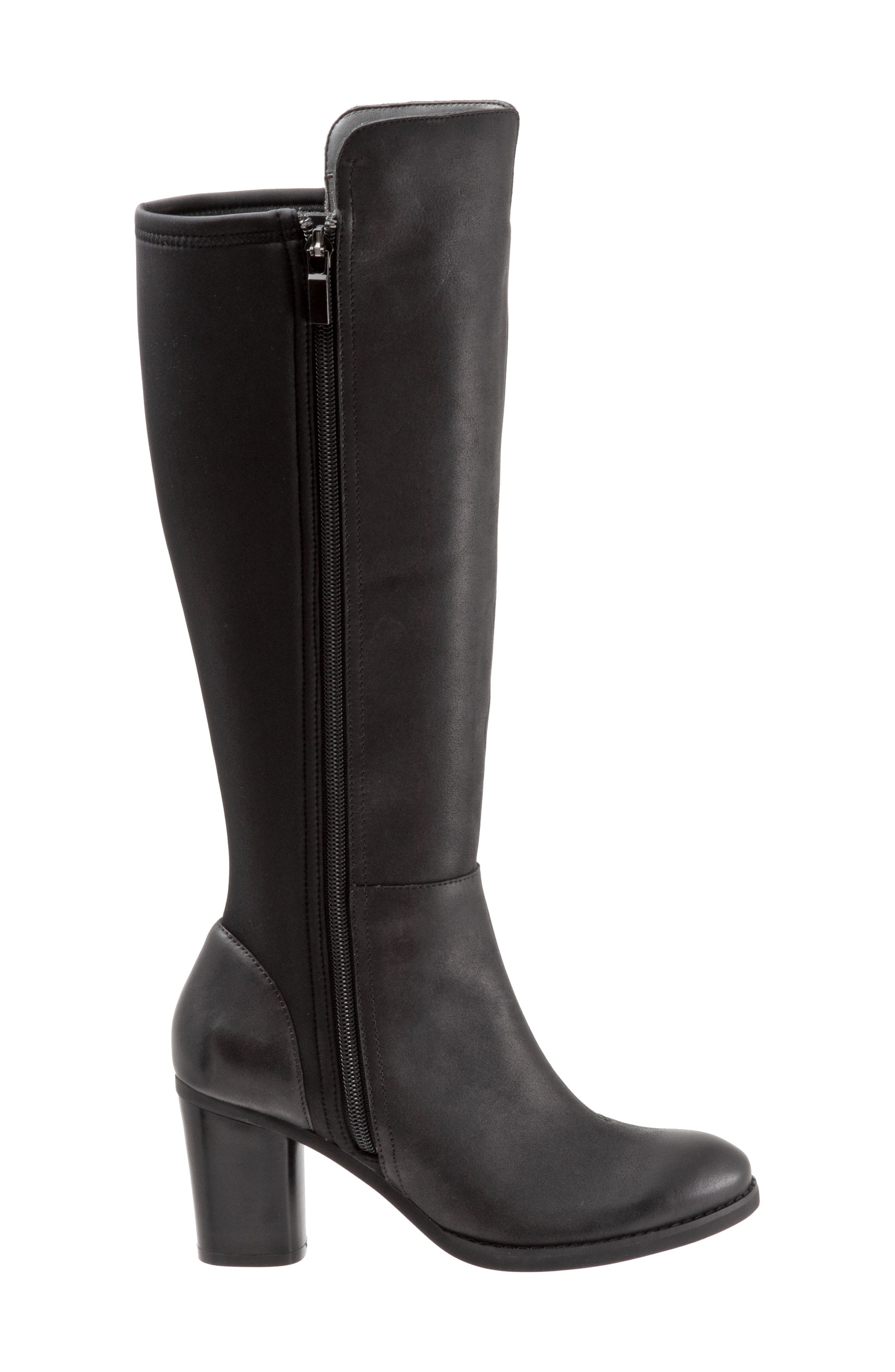 SOFTWALK<SUP>®</SUP>, Katia Knee High Boot, Alternate thumbnail 3, color, BLACK LEATHER
