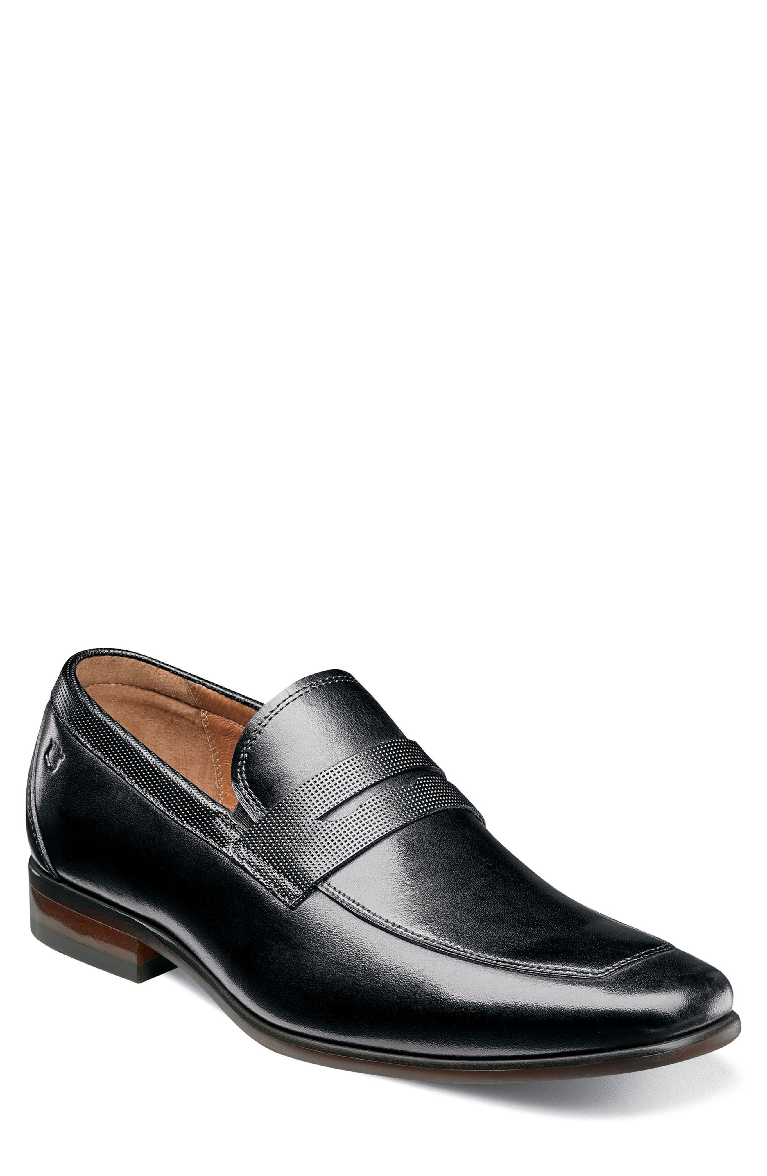 FLORSHEIM, Postino Apron Toe Textured Penny Loafer, Main thumbnail 1, color, BLACK LEATHER