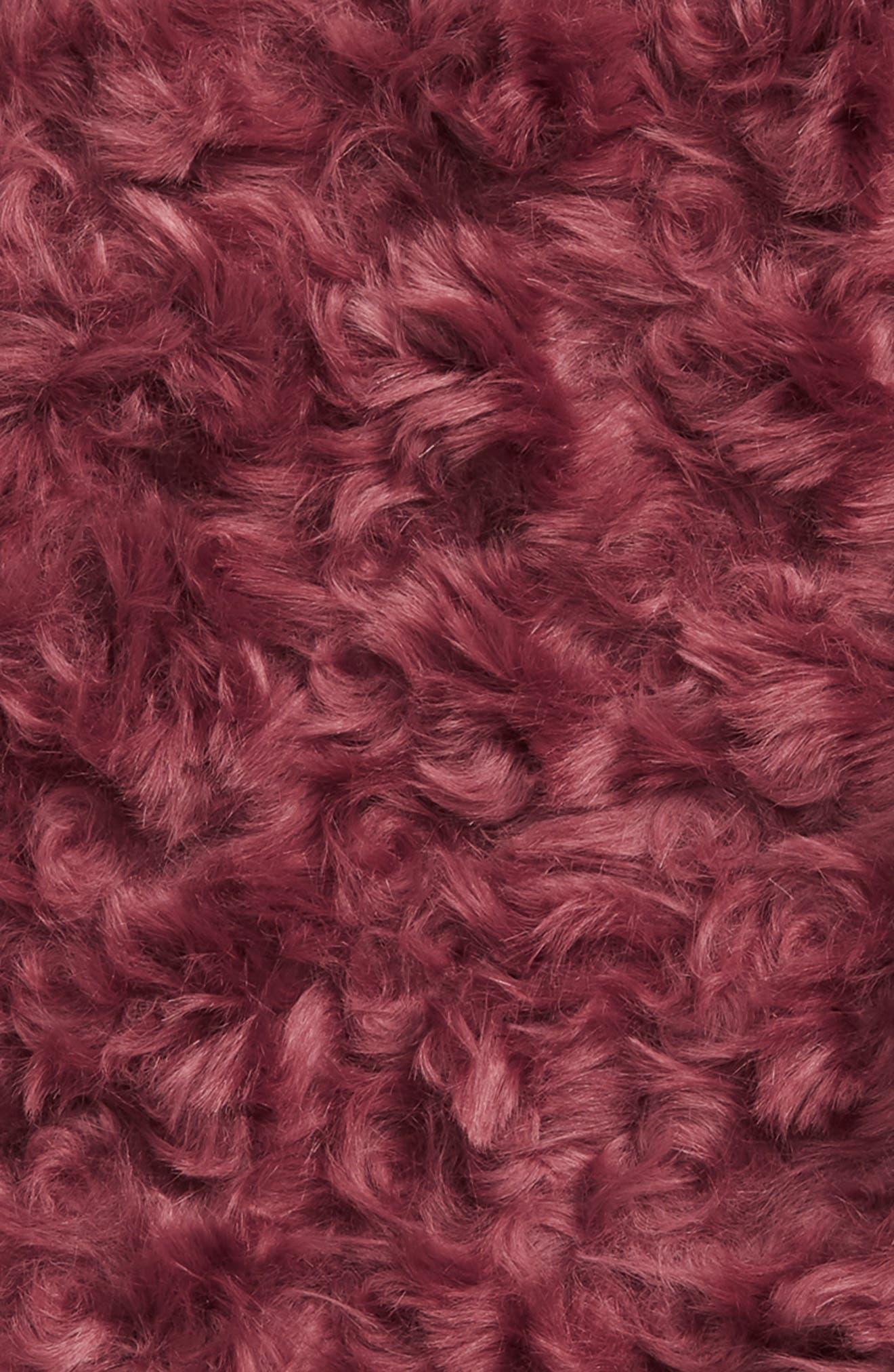 TREASURE & BOND, Curly Faux Fur Throw, Alternate thumbnail 2, color, BROWN ROSE