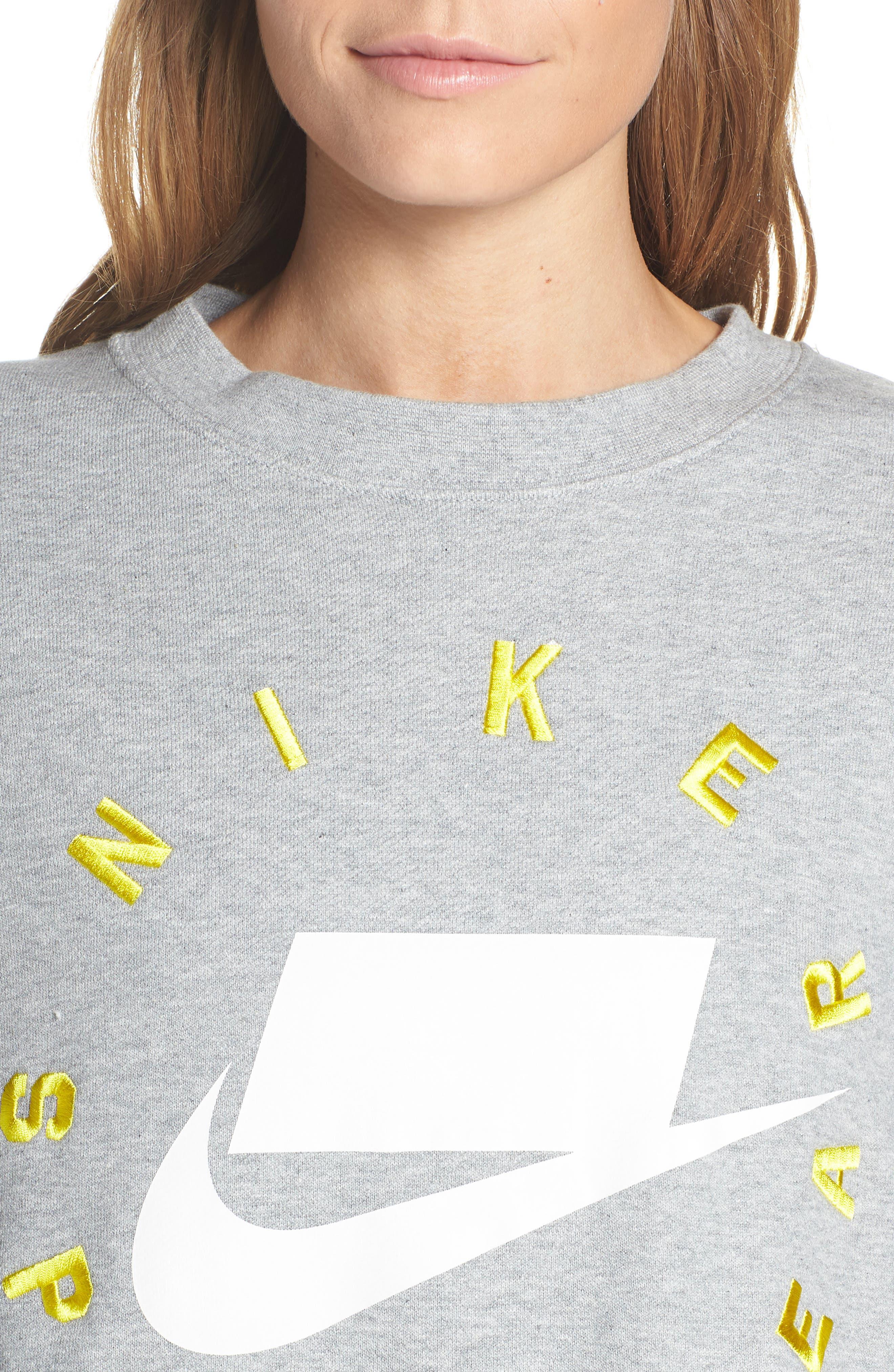 NIKE, Sportswear Logo Oversize Sweatshirt, Alternate thumbnail 5, color, DARK GREY HEATHER