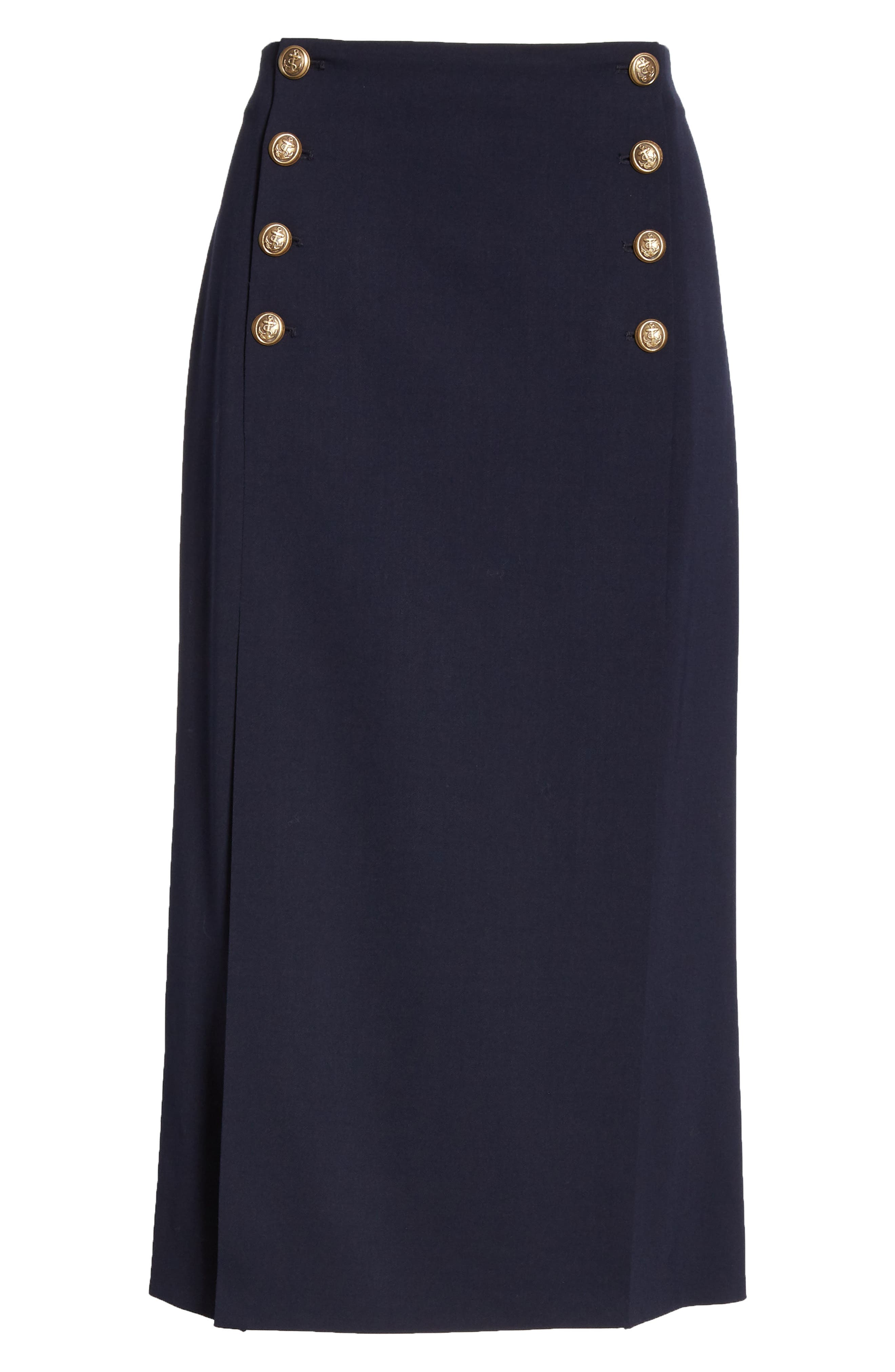 POLO RALPH LAUREN, A-Line Skirt, Alternate thumbnail 6, color, NAVY