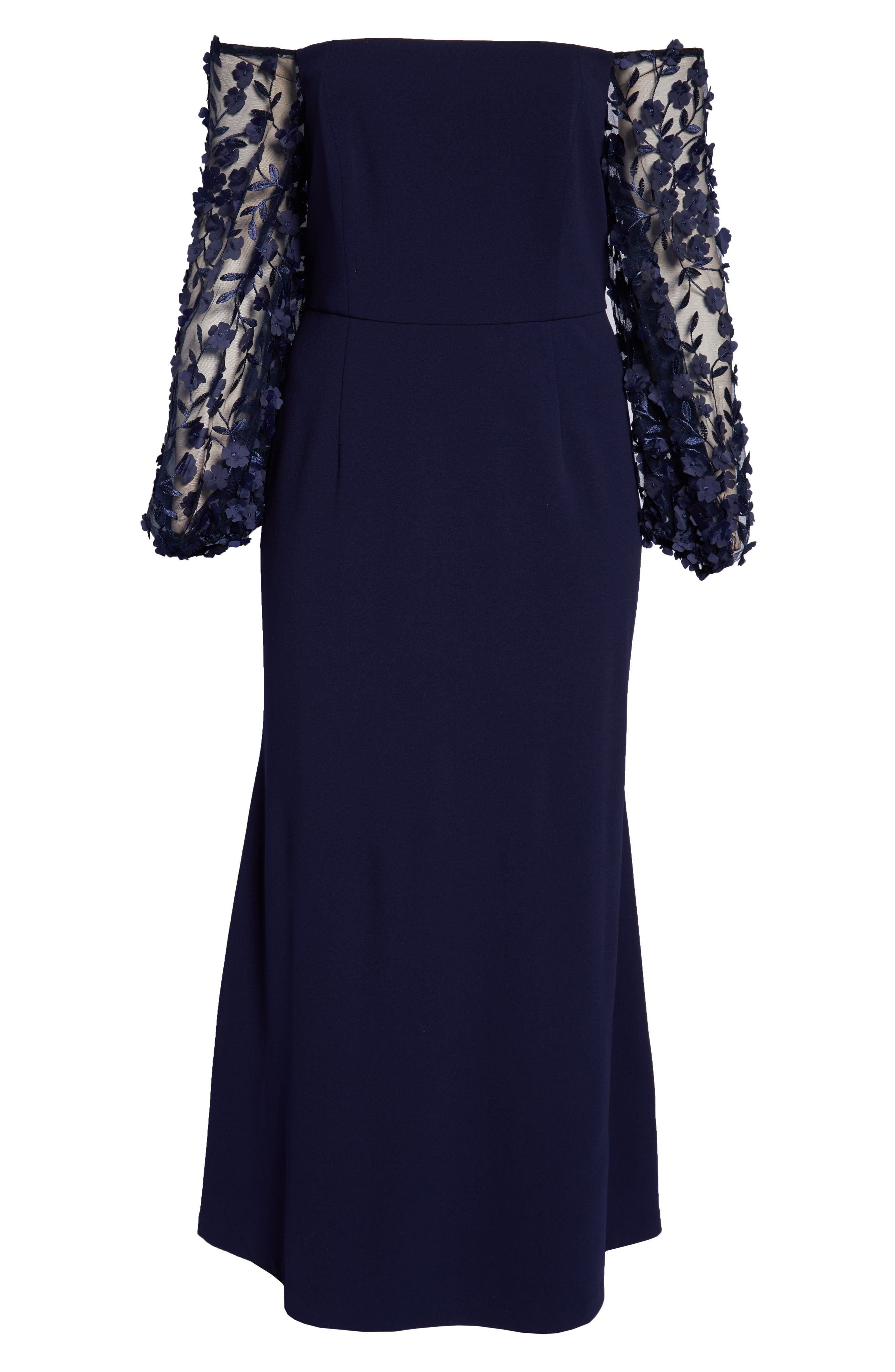 ELIZA J, Off the Shoulder 3D Floral Sleeve Scuba Crepe Evening Dress, Alternate thumbnail 7, color, NAVY