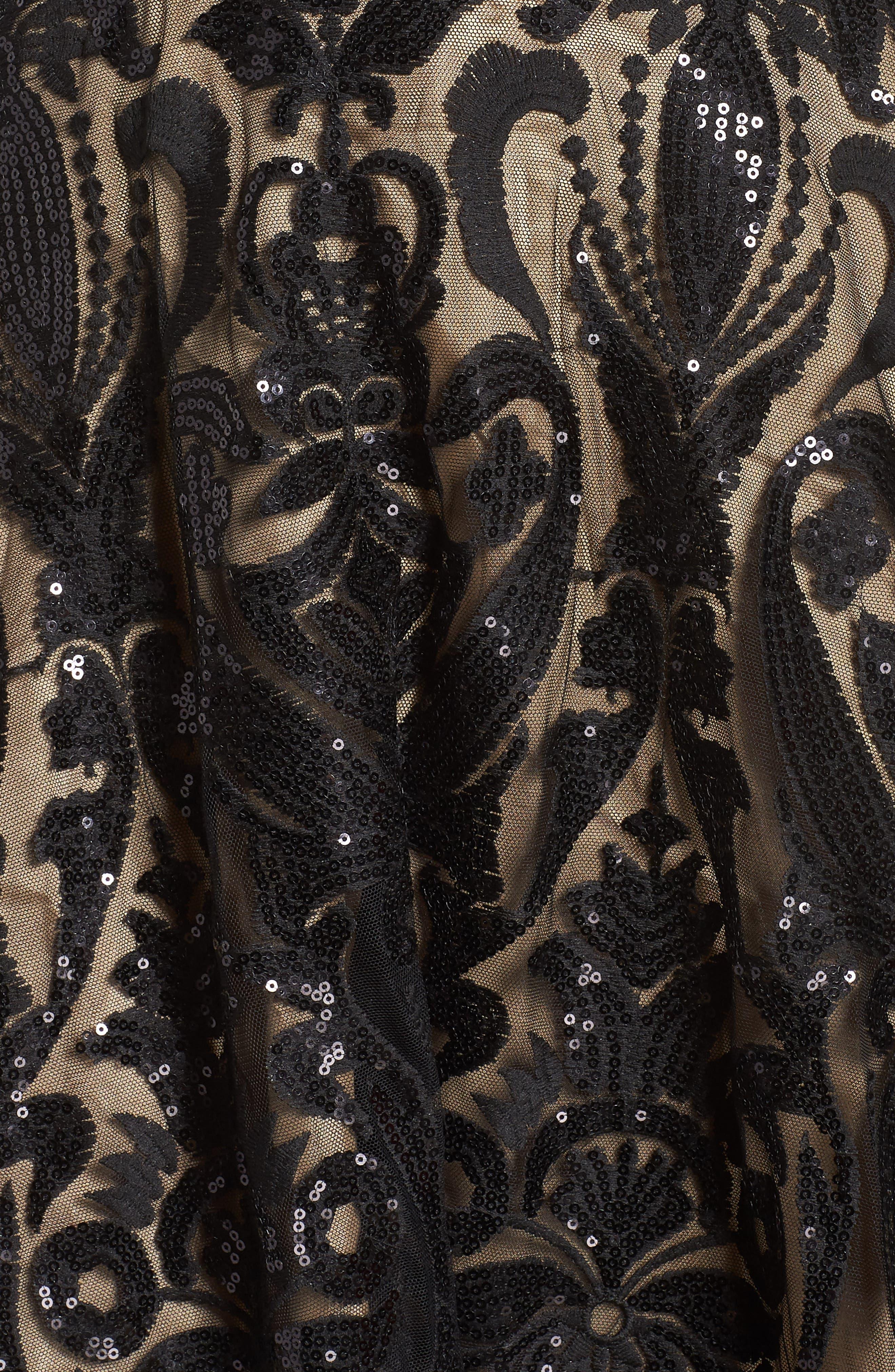 MAC DUGGAL, Velvet & Sequin Jacquard Ballgown, Alternate thumbnail 6, color, BLACK/ NUDE