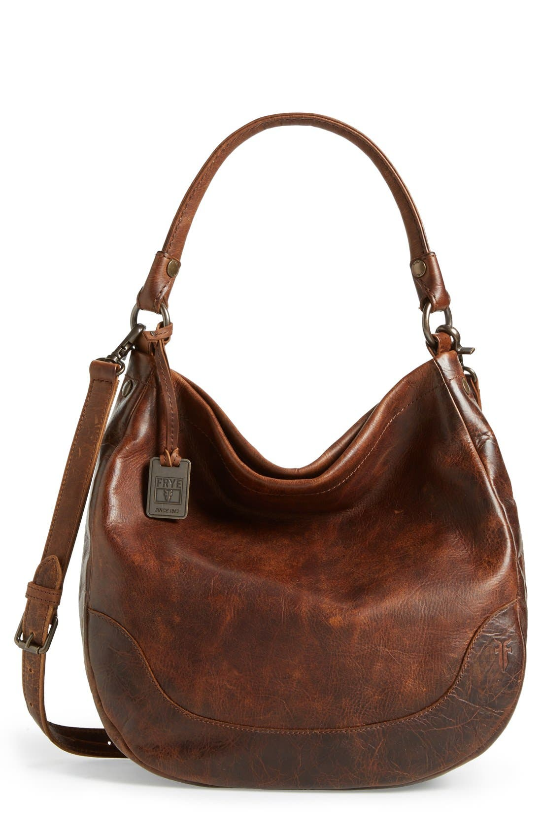 FRYE, Melissa Leather Hobo, Main thumbnail 1, color, DARK BROWN
