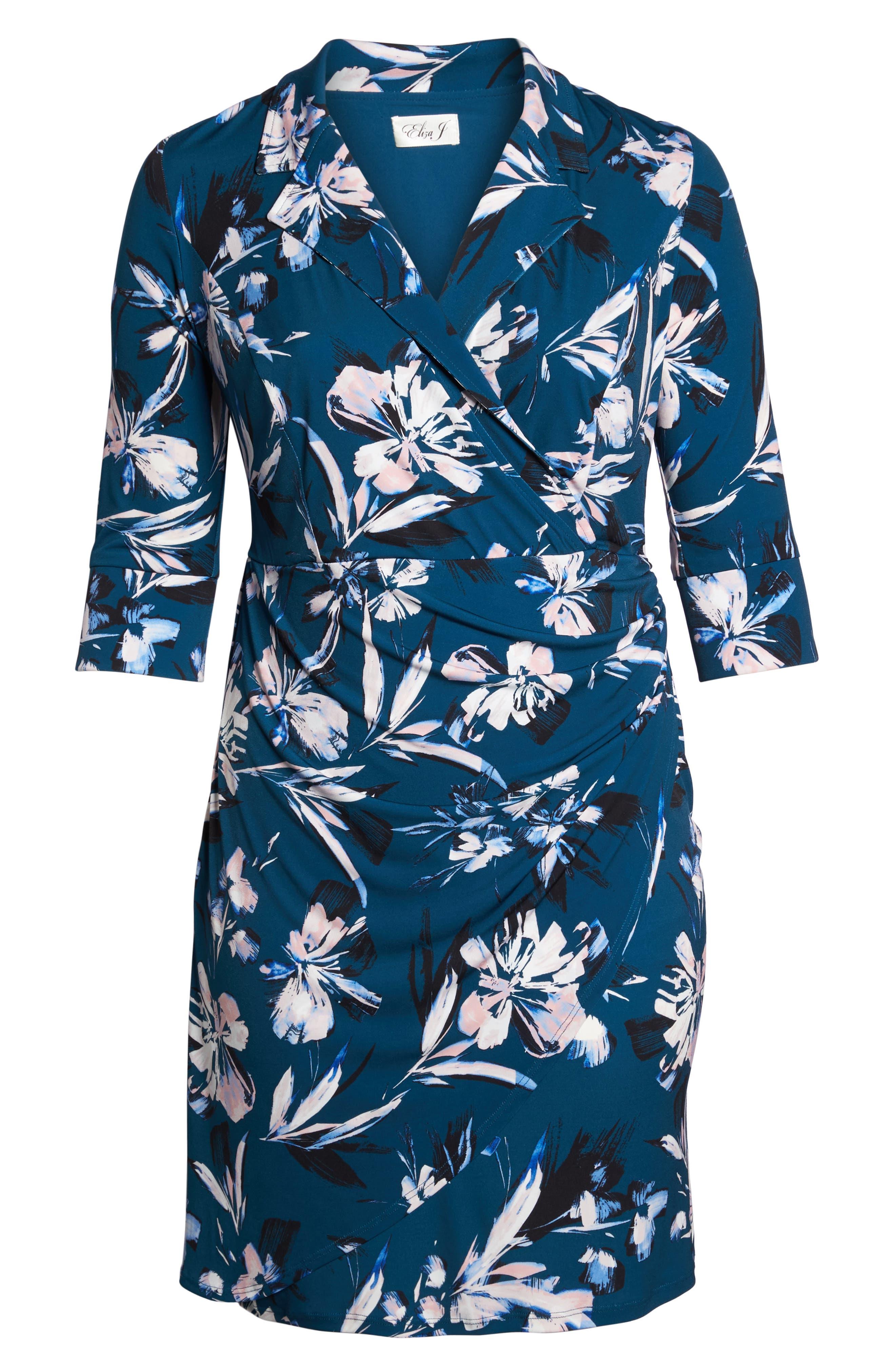 ELIZA J, Faux Wrap Floral Shirtdress, Alternate thumbnail 7, color, GREEN