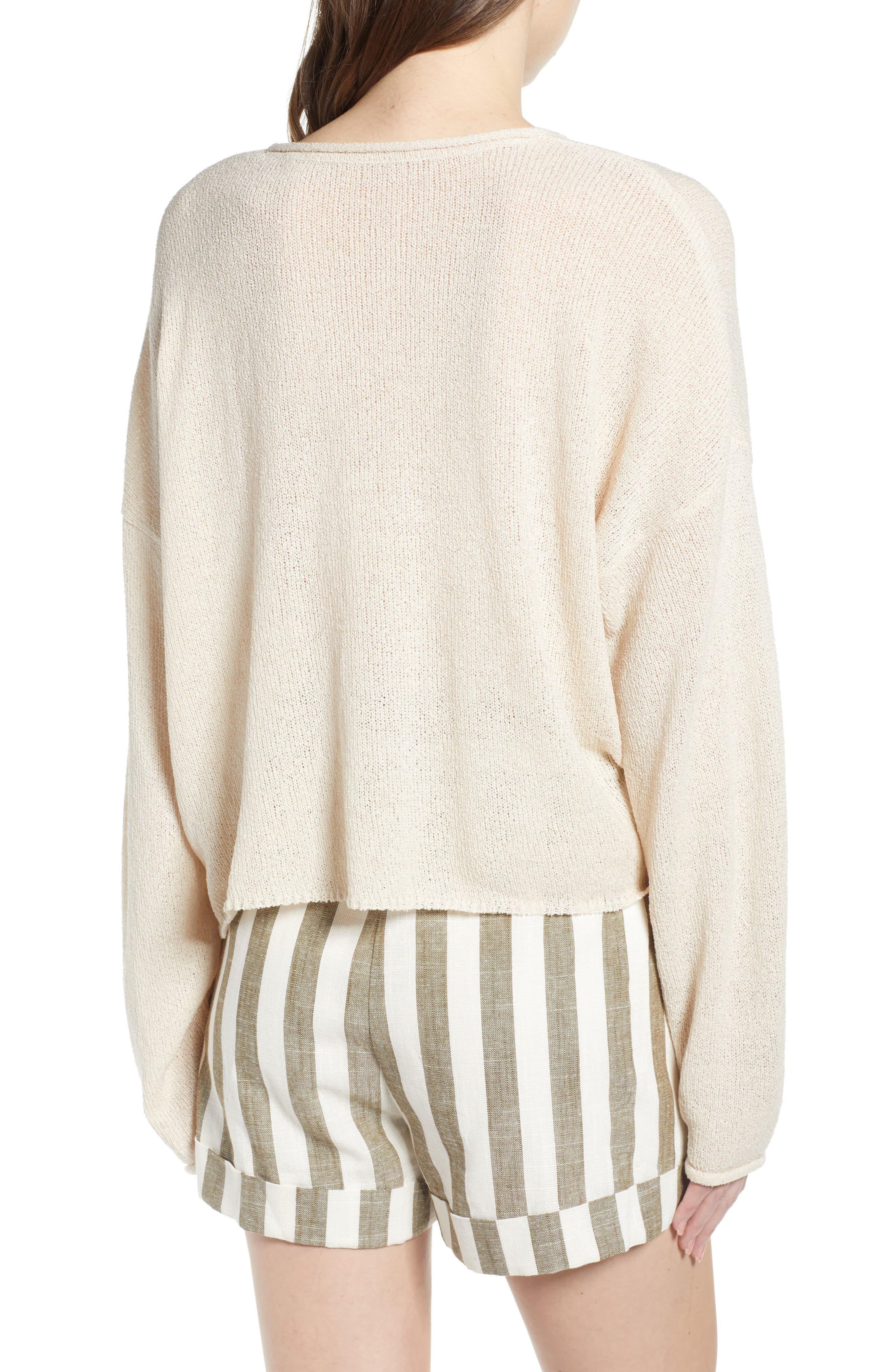 CHRISELLE LIM COLLECTION, Chriselle Lim Sabine Front/Back Sweater, Alternate thumbnail 3, color, NATURAL